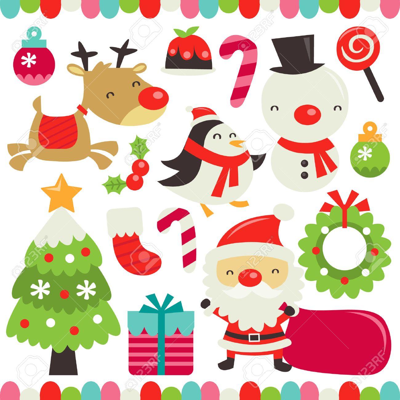 Immagini Vettoriali Natale.Una Illustrazione Vettoriale Di Un Set Di Natale Carino Retro Incluso In Questo Set Ornamenti Di Natale Budino Di Natale Zucchero Filato Del