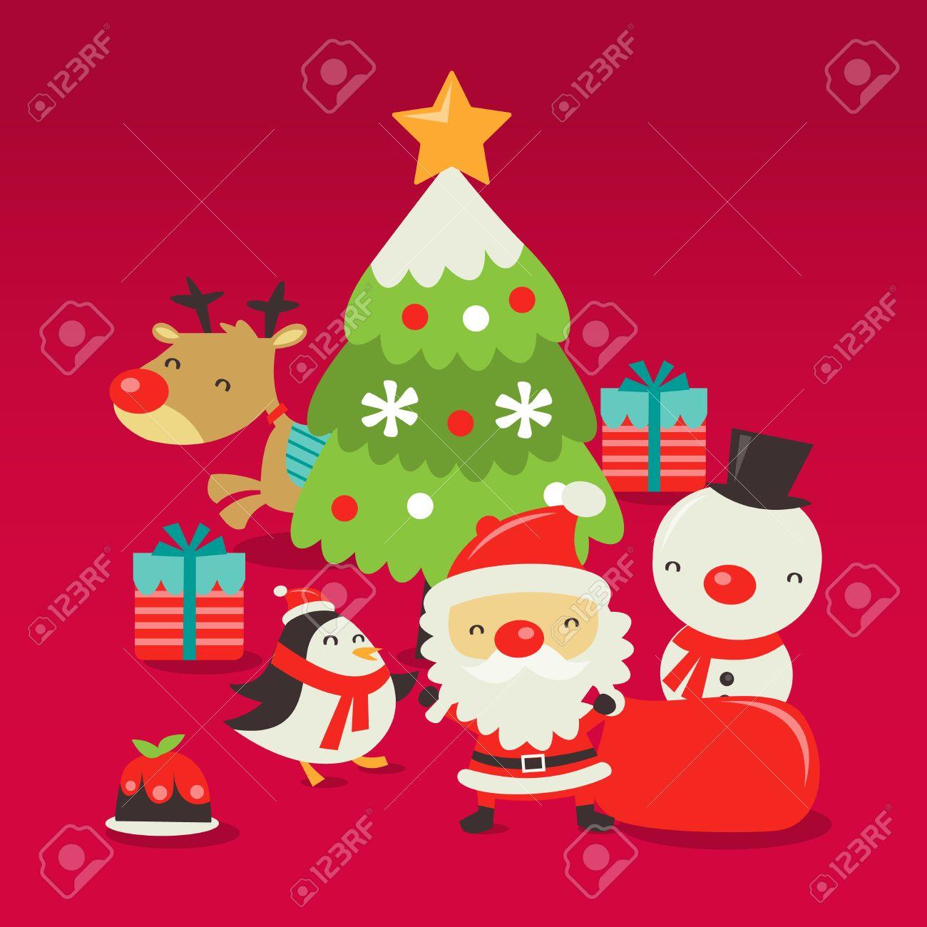 Immagini Vettoriali Natale.Una Illustrazione Vettoriale Di Retro Scena Di Natale Carino Con Babbo Natale Albero Di Natale Renne Regali Di Natale Pupazzo Di Neve Pinguino