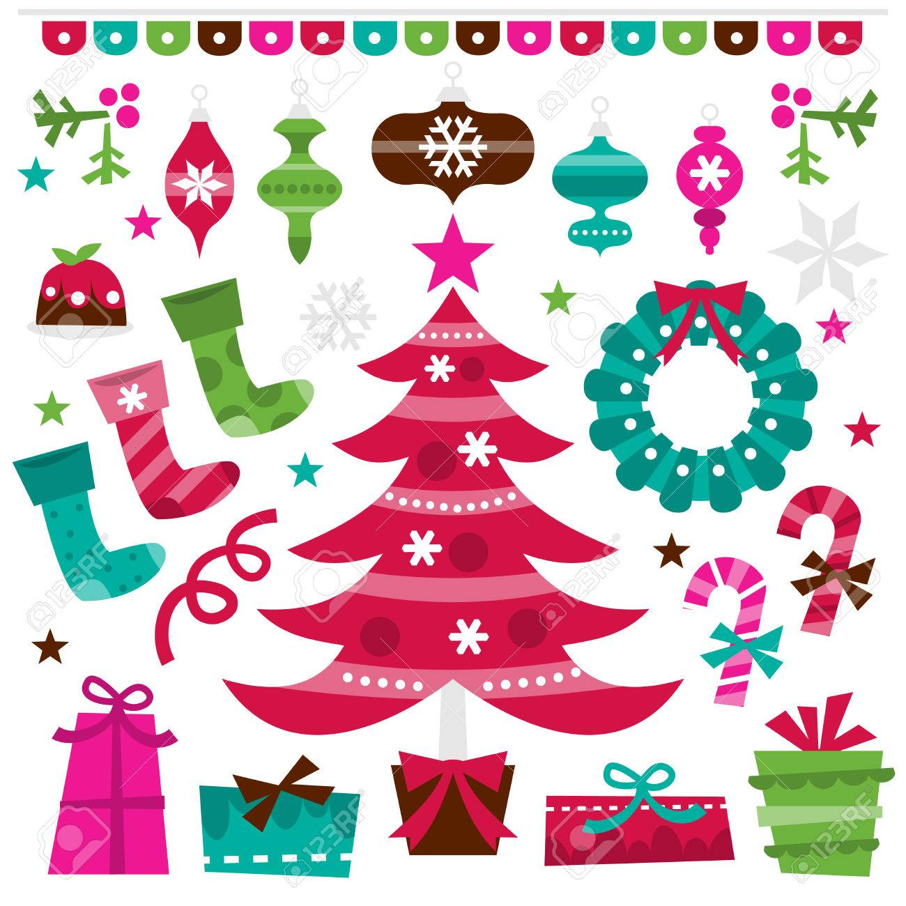 A Retro Vector Illustration Of Holly Jolly Christmas Design Elements ...