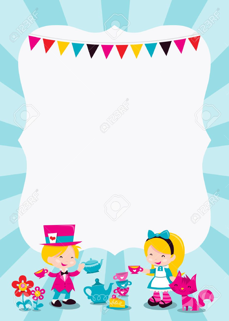 漫画ベクトル イラスト カラフルな気まぐれなレトロのアリスのワンダーランドのテーマ コピー スペース アリス マッドハッターとチェシャ猫とお茶会 を持っていると 子供のパーティの招待状またはテーマのイベントに最適です のイラスト素材 ベクタ Image