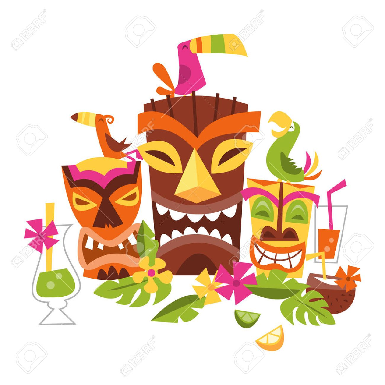 Three grimacing tiki party masks surrounded by leaves and drinks a three grimacing tiki party masks surrounded by leaves and drinks a bird stands on the brown mask to the left is a yellow tiki mask with a green bird on stopboris Images