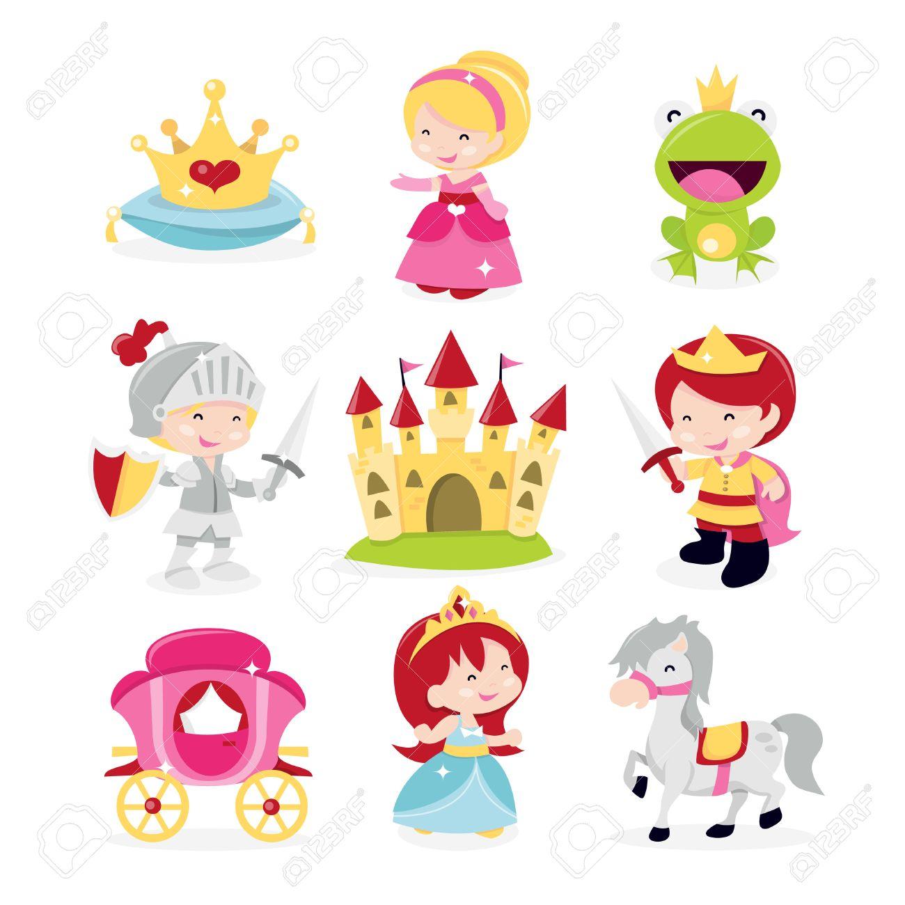Una Ilustración Vectorial De Dibujos Animados De Princesas Lindas Y Divertidas Príncipe Y Caballero Conjunto De Iconos De Tema Incluido En Este