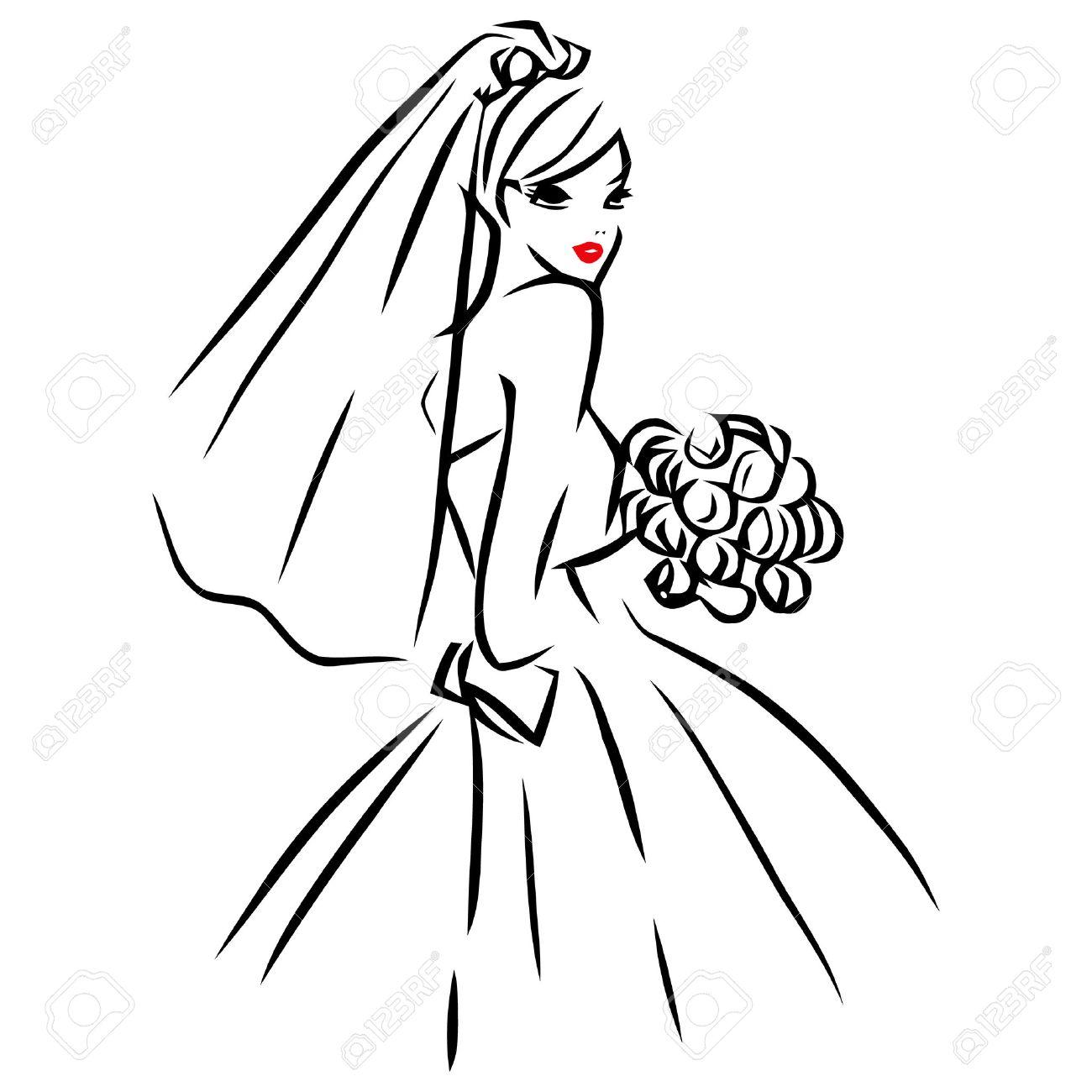 この画像は線の芸術スタイルのベクトル イラスト美しい花嫁のバラの