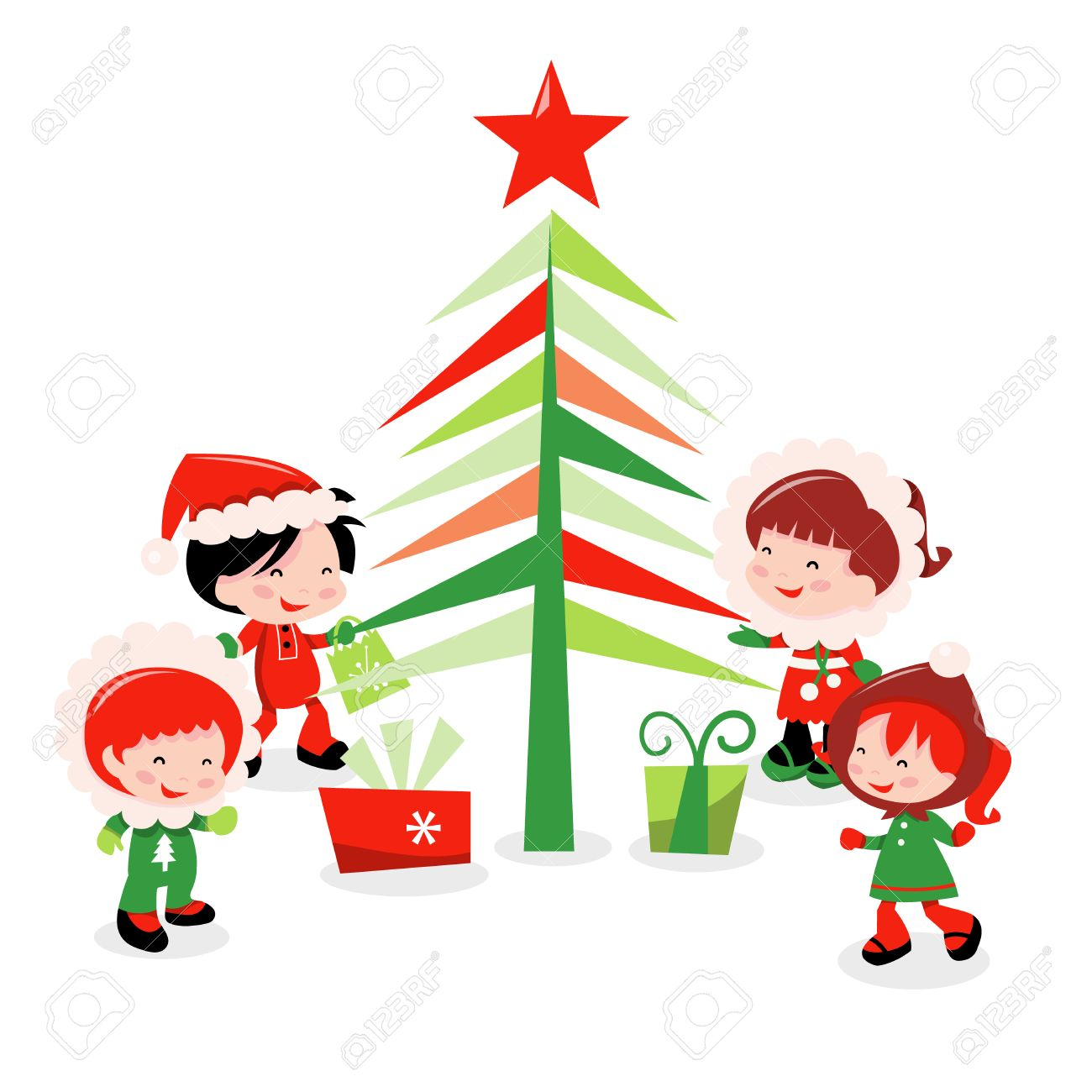 a cartoon vector illustration of a bunch of cute kids in winter