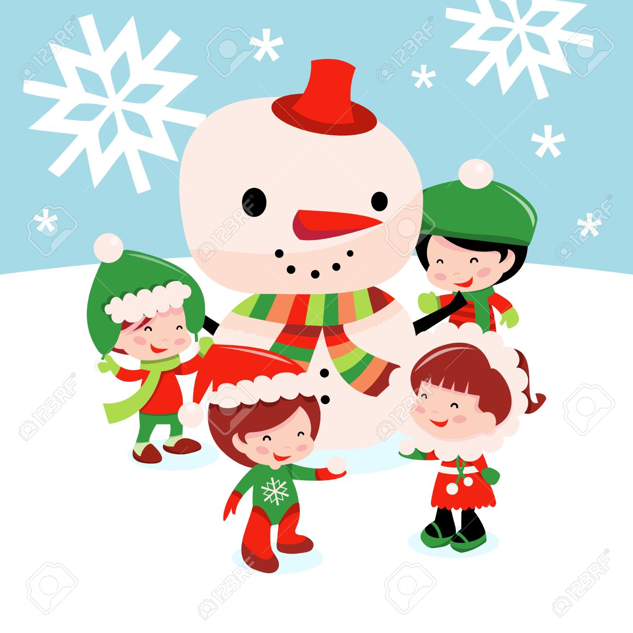 a cartoon vector illustration of a bunch of cute kids wearing
