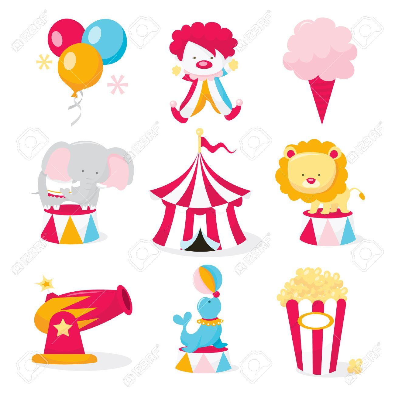 a vector illustration set of cute circus theme clip arts like