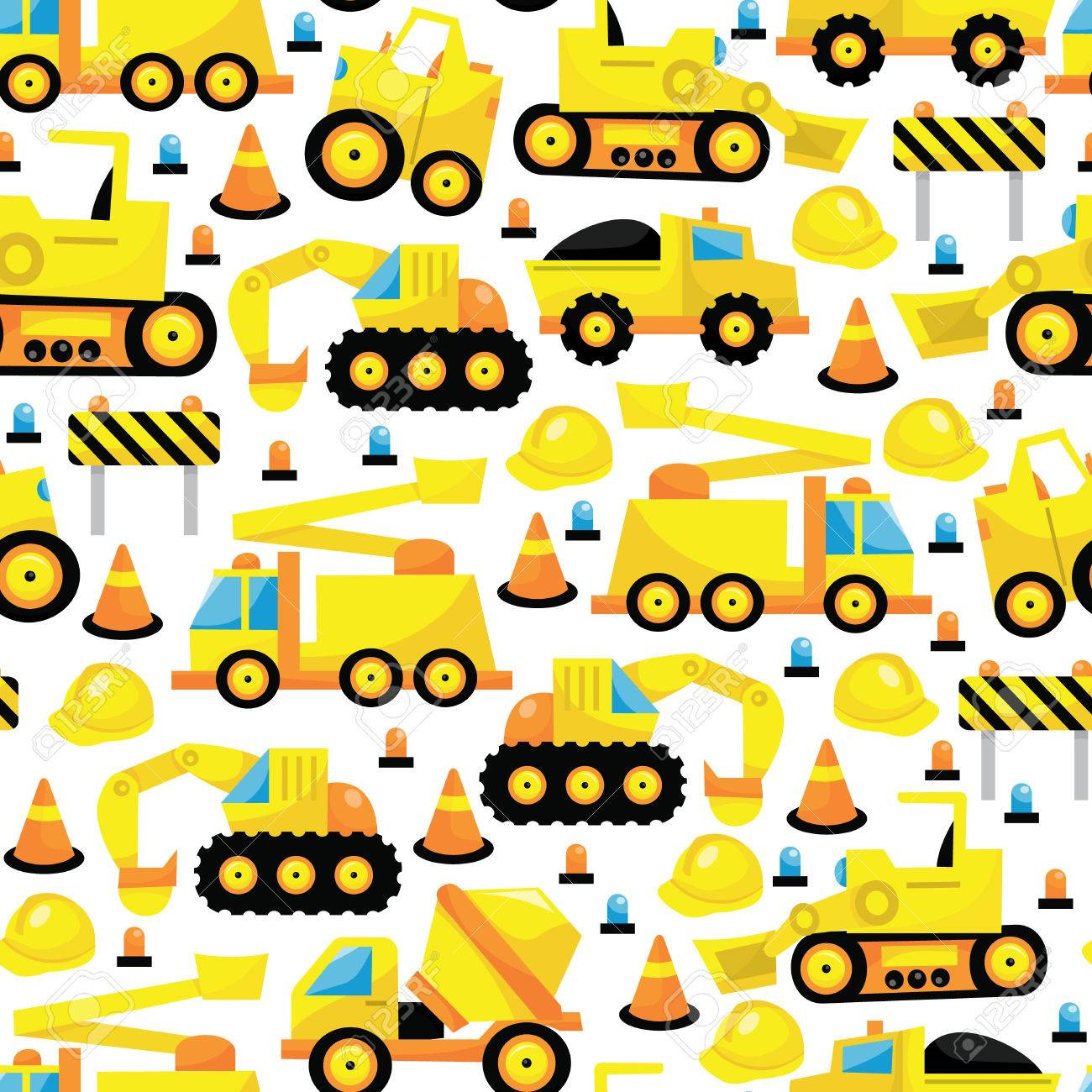 a vector illustration seamless pattern of construction trucks
