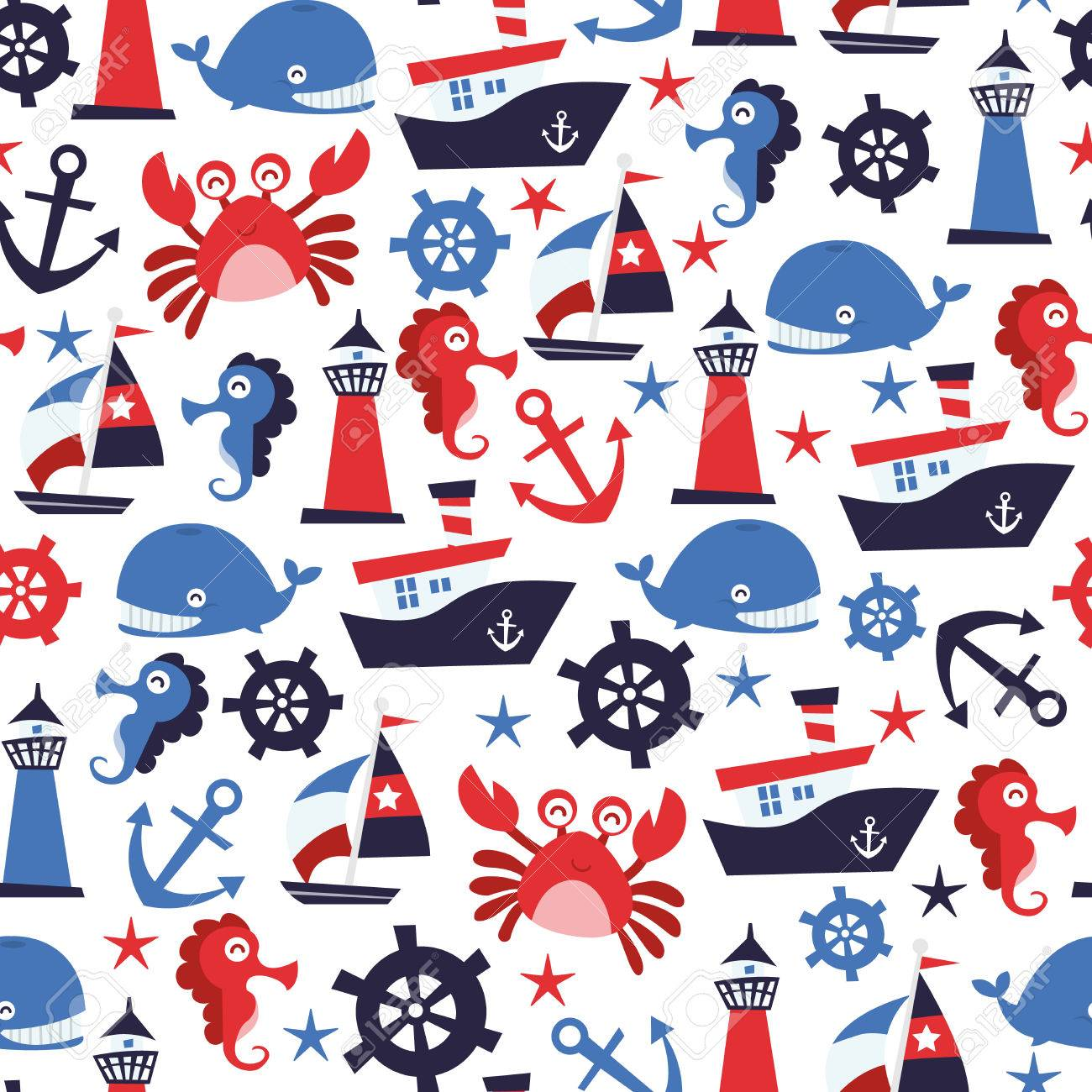 Design Nautical Theme a vector illustration of nautical theme seamless pattern background stock 39709404
