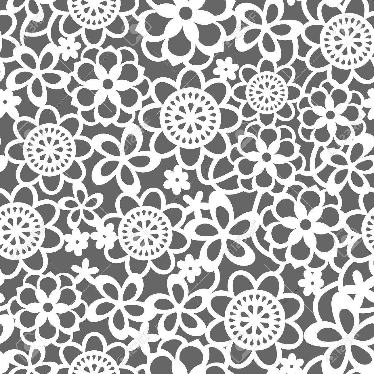 花のレース パターンのシームレスな背景のベクトル イラストのイラスト