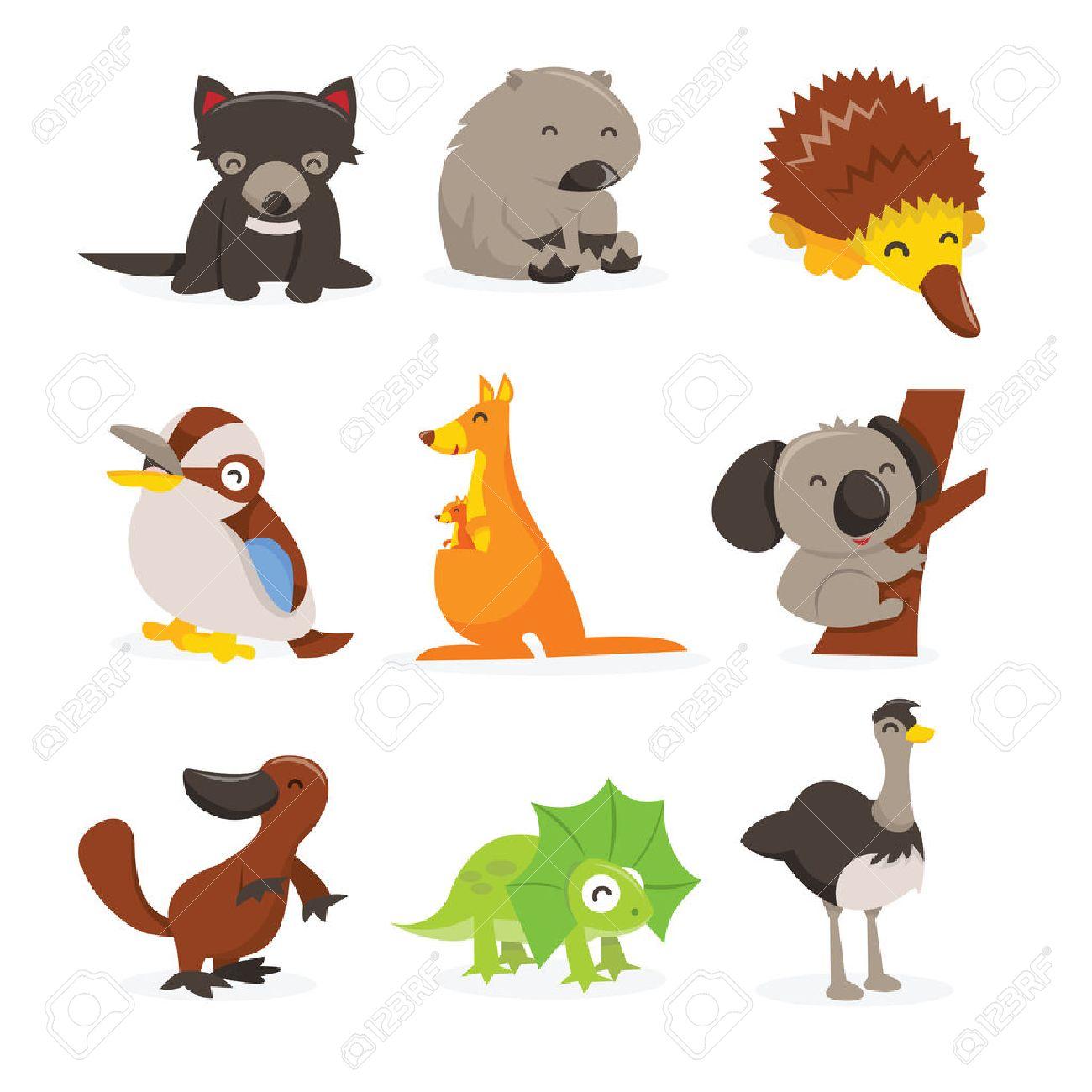 かわいい幸せなオーストラリアの動物アイコンの漫画のベクトル図を設定