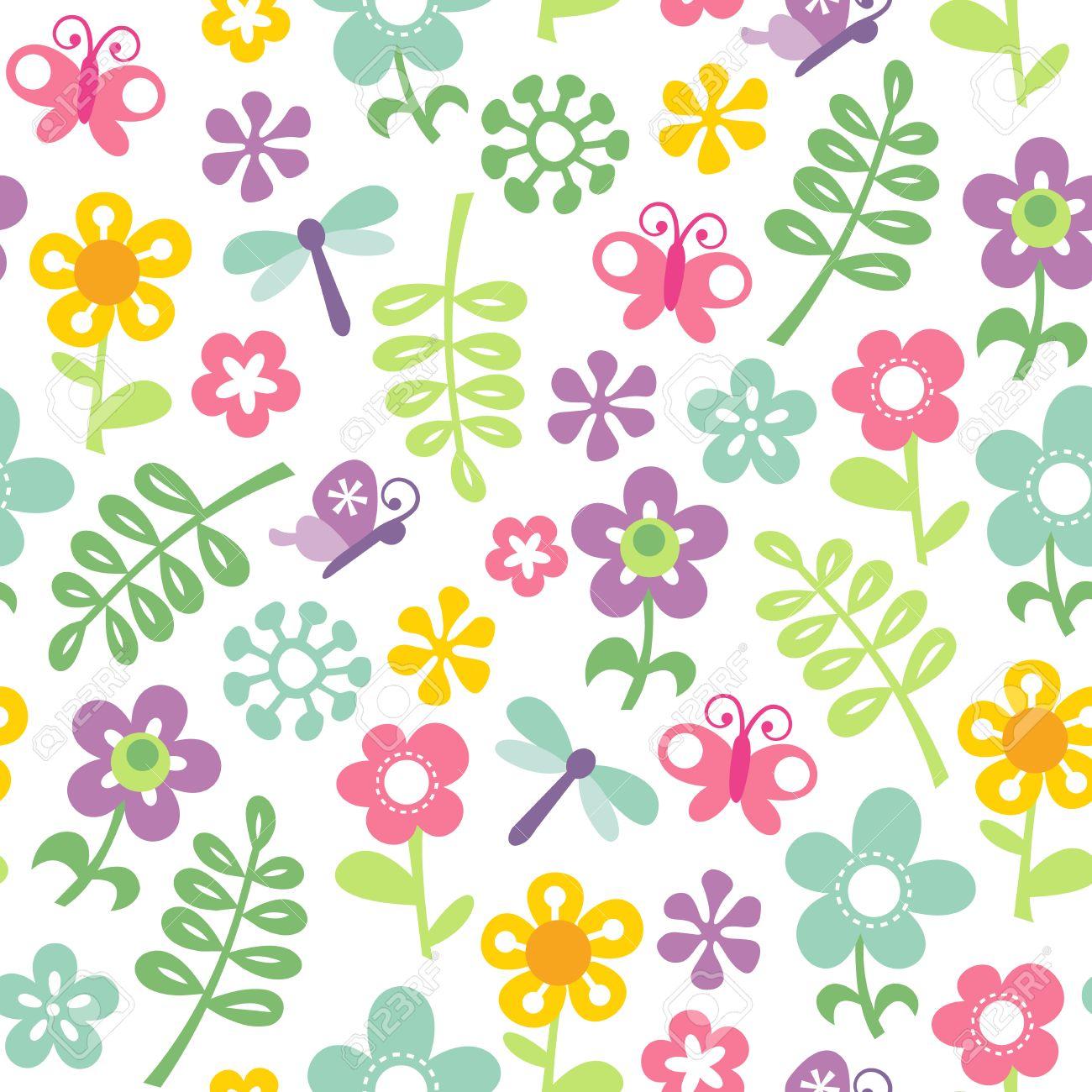 レトロ風春庭のテーマのシームレスなパターン背景のベクトル イラスト