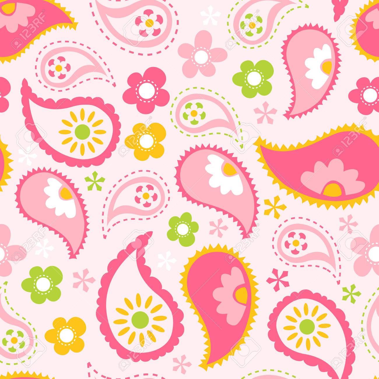 ピンク春ペイズリーのシームレスなパターン背景のベクトル イラスト