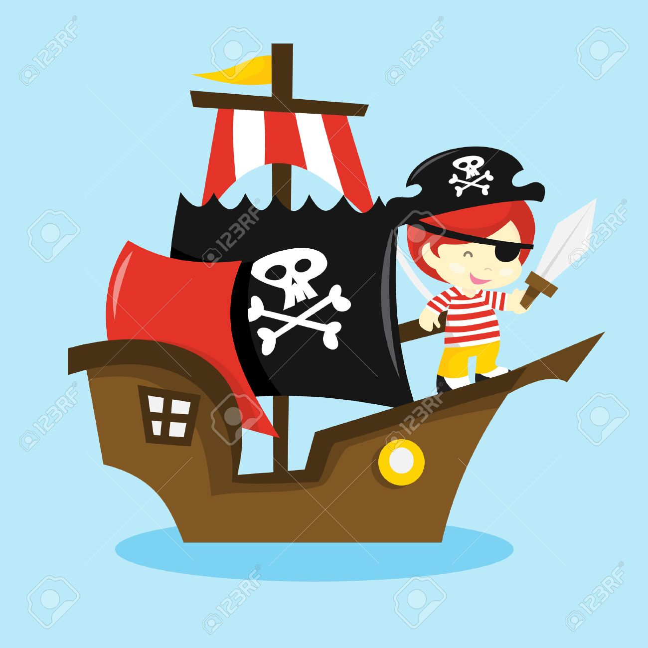 a cartoon vector illustration of a pirate kid on a pirate ship