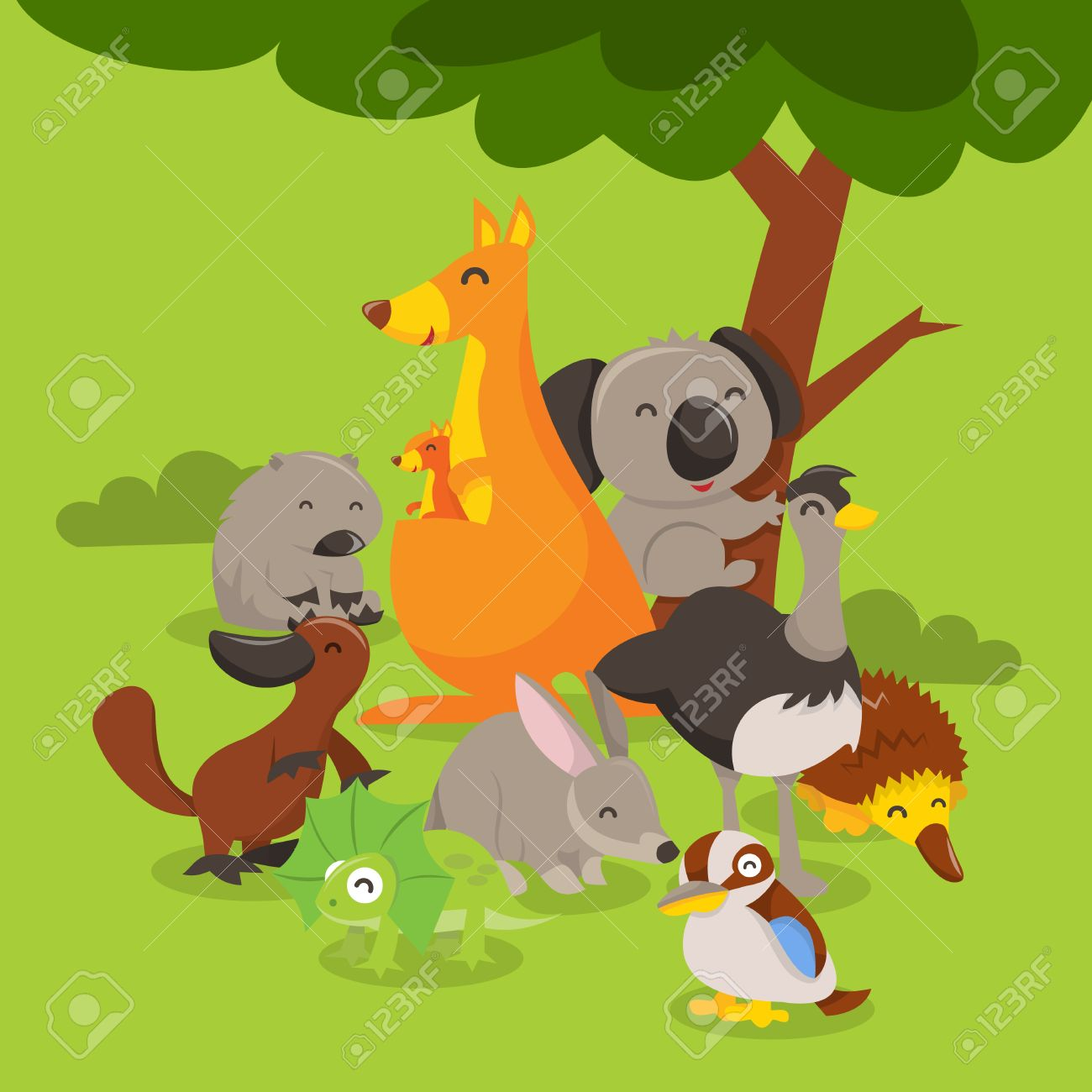 A Cartoon Vector Illustration Of A Group Of Cute And Happy Australian Royalty Free Cliparts Vectors And Stock Illustration Image 39734499