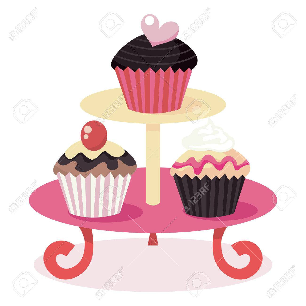 A Vector Illustration Of Cute Cupcakes On A Cupcake Stand Royalty