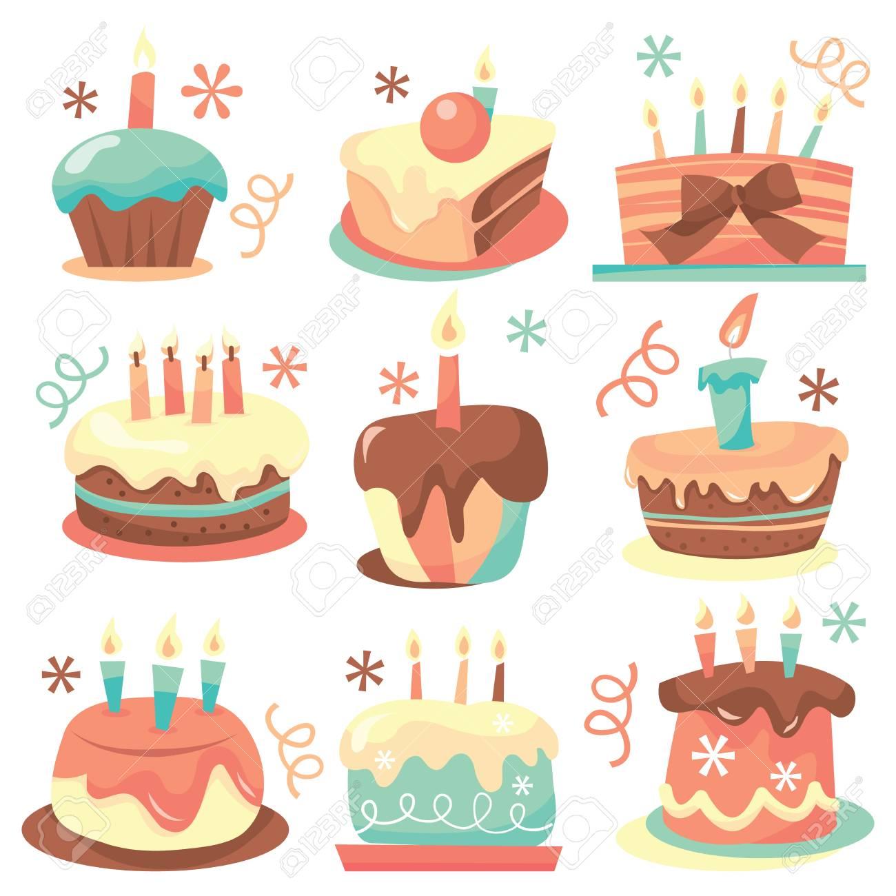 かわいい甘いレトロな誕生日ケーキ ベクトル イラスト集ですのイラスト