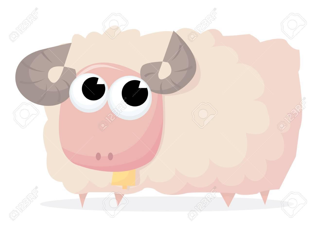 鈴漫画ベクトル イラストかわいいふわふわ羊ラムのイラスト素材