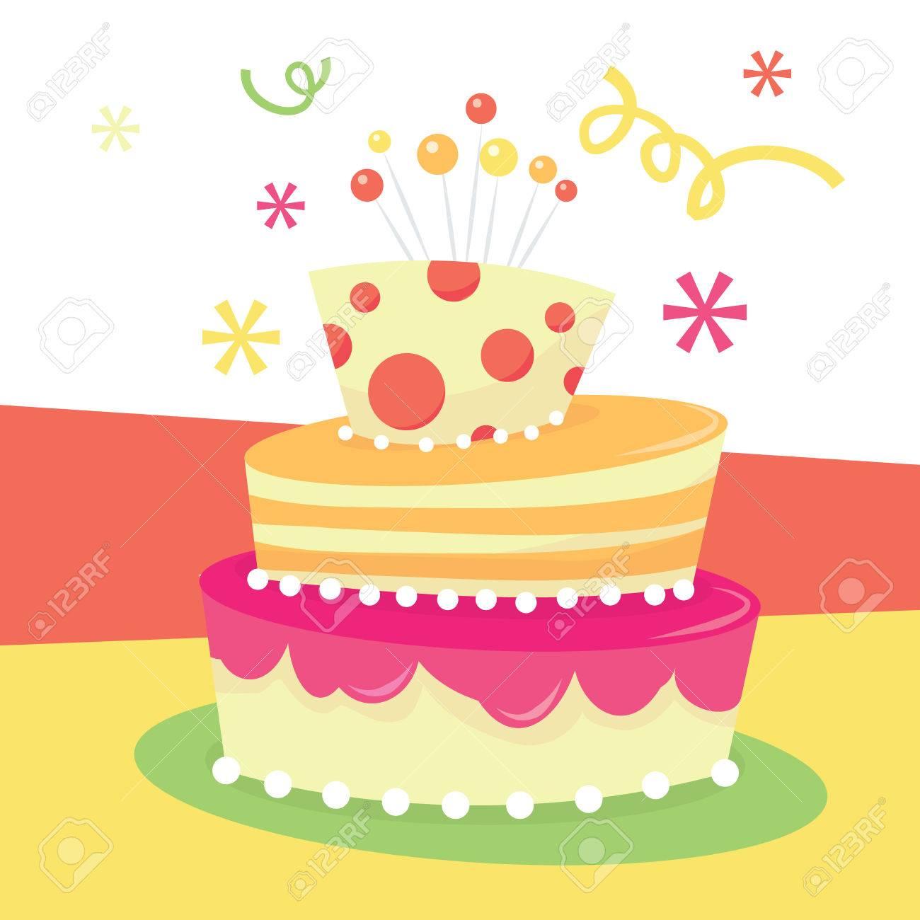 かわいい気まぐれな層マッドハッター誕生日ケーキのベクター イラスト