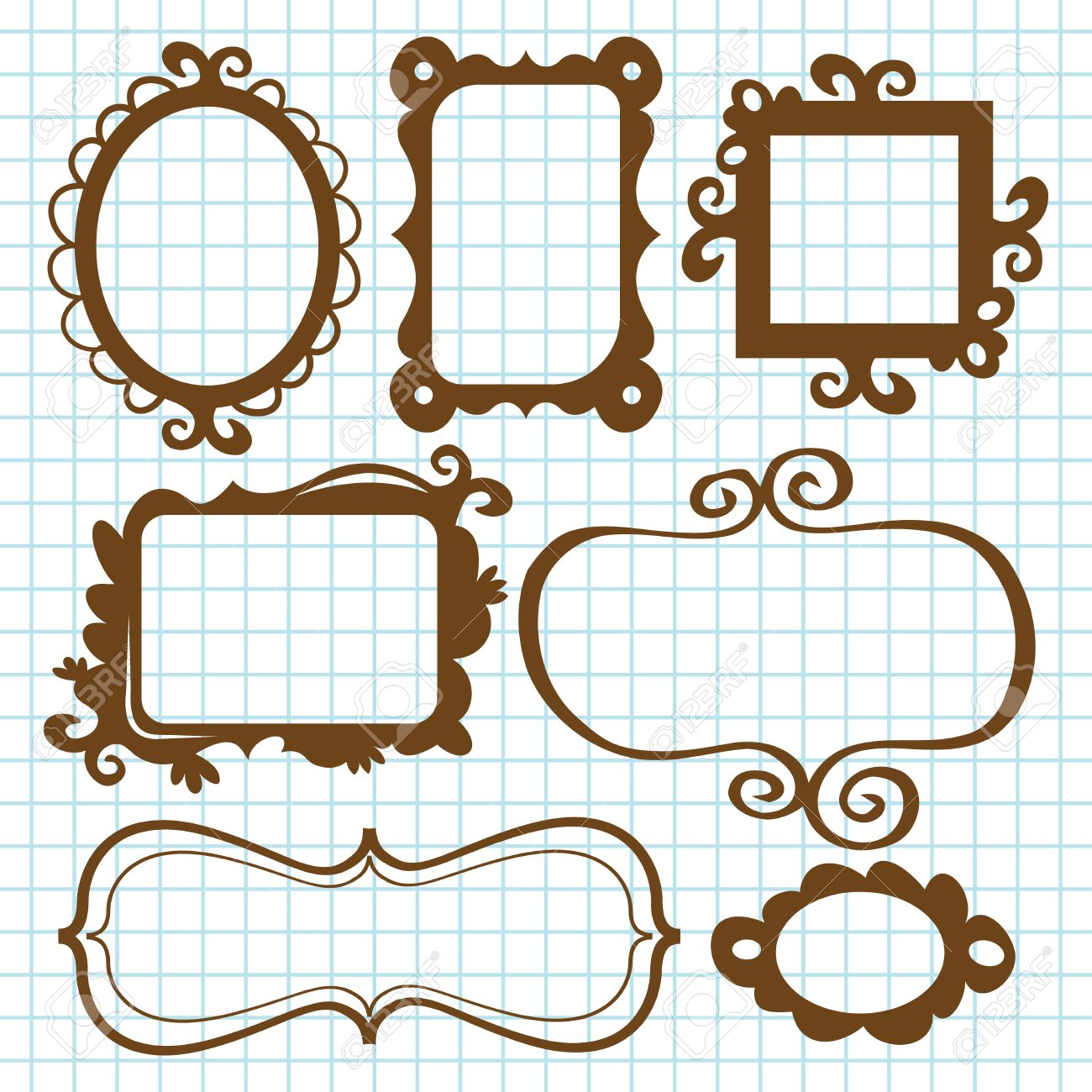 A Set Of Fanciful And Whimsical Frames And Bookplates In Doodle ...