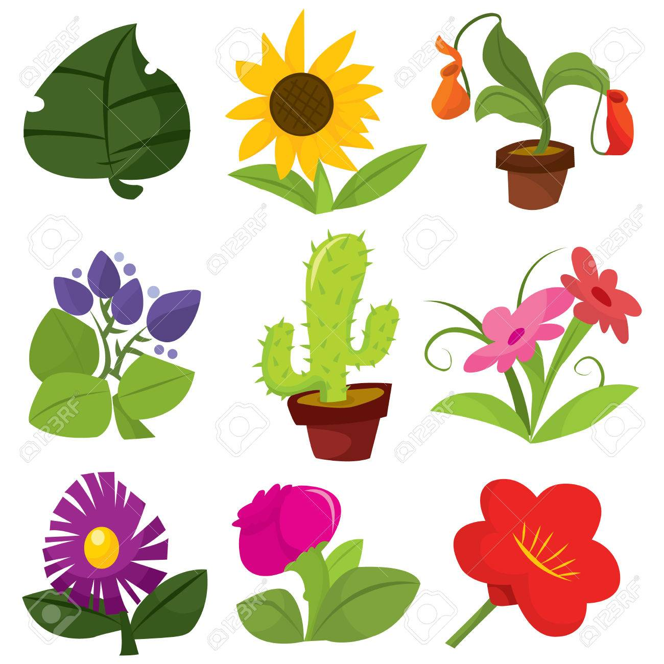 A Set Of Nine Different Cute Cartoon Vector Flowers And Plants Royalty Free Cliparts Vectors And Stock Illustration Image 39947981
