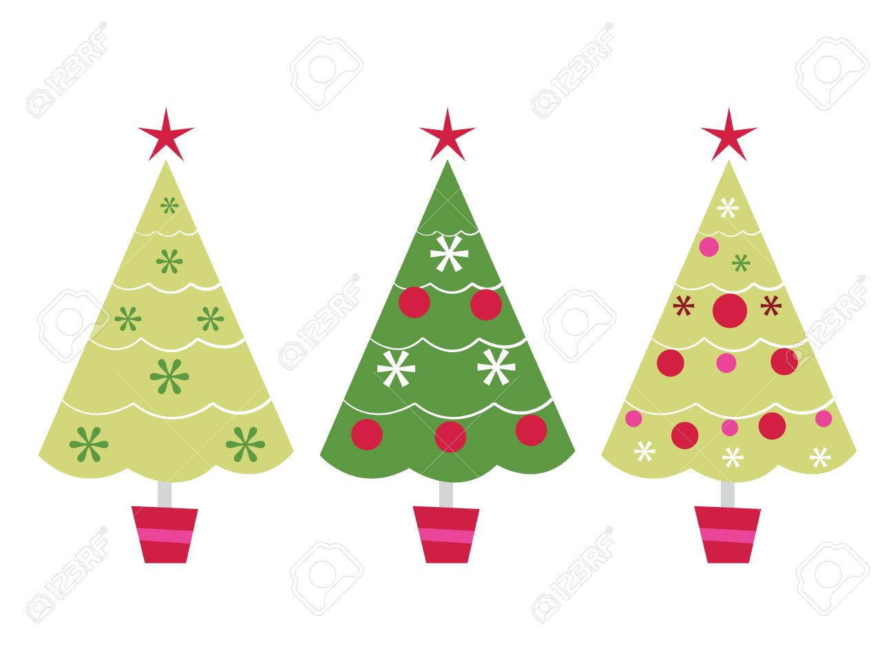 A Vector Illustration Set Of Three Cute Christmas Tree In A Row ...