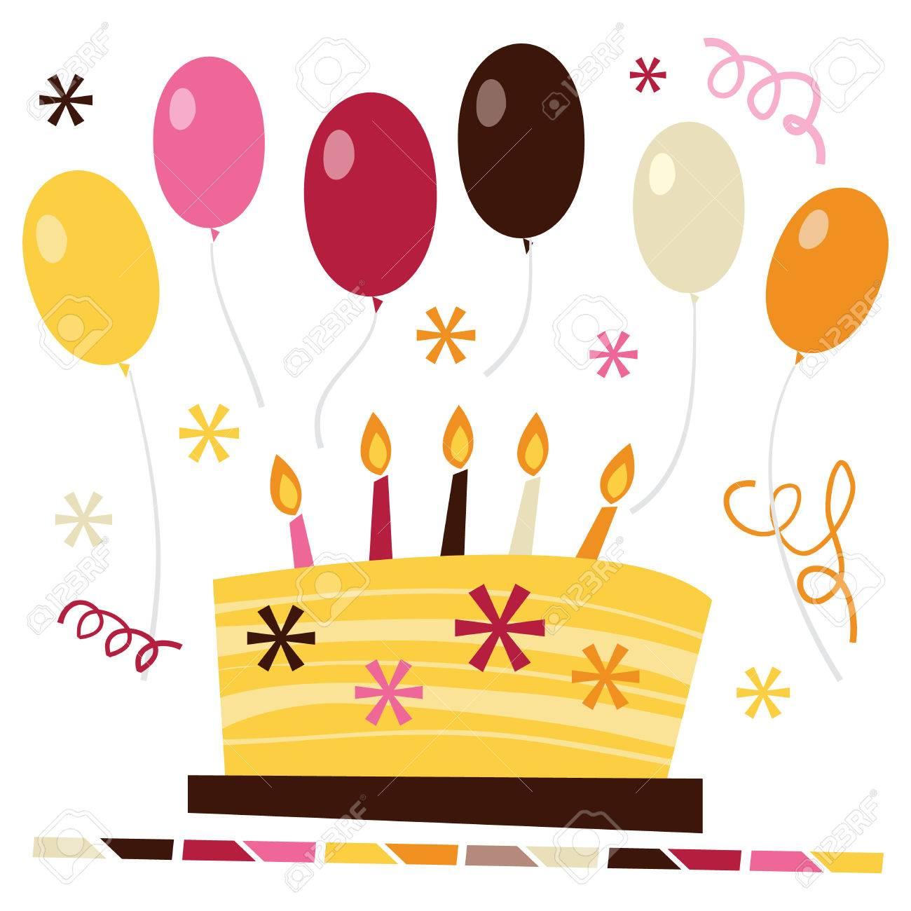 Festa A Sorpresa Di Compleanno una illustrazione vettoriale di retrò festa di compleanno a sorpresa.