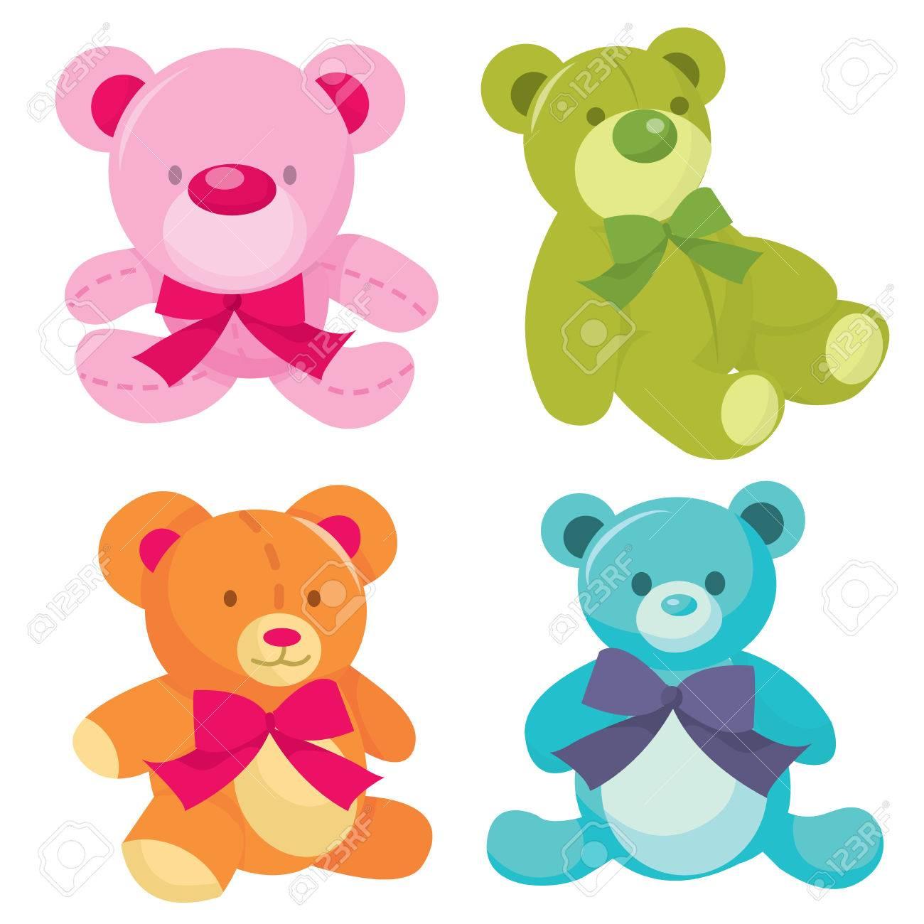teddy bears vector  A Set Of Four Cute Teddy Bears Vector Illustration In Different ...