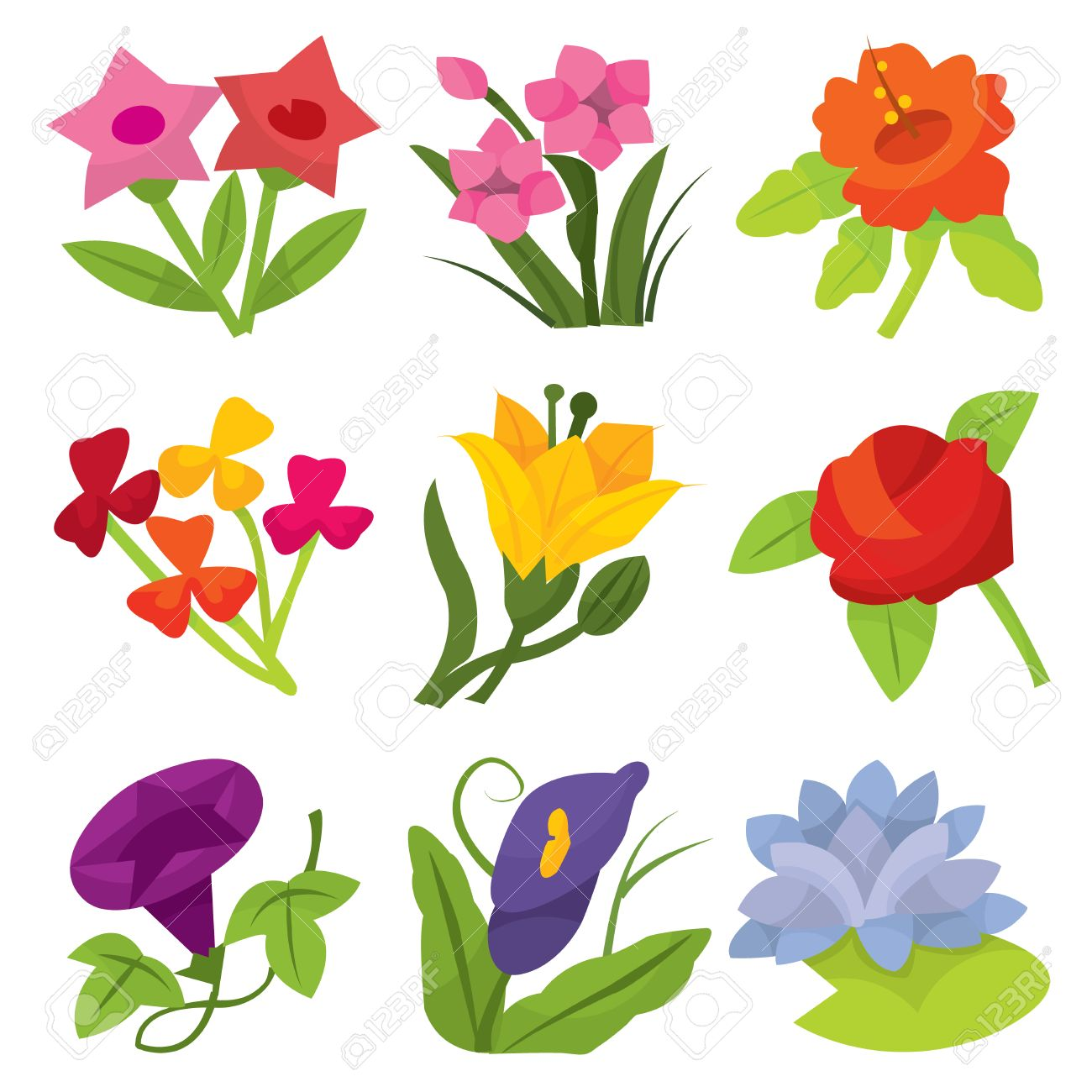 Un Conjunto De Nueve Flores De Colores Ilustración Vectorial De