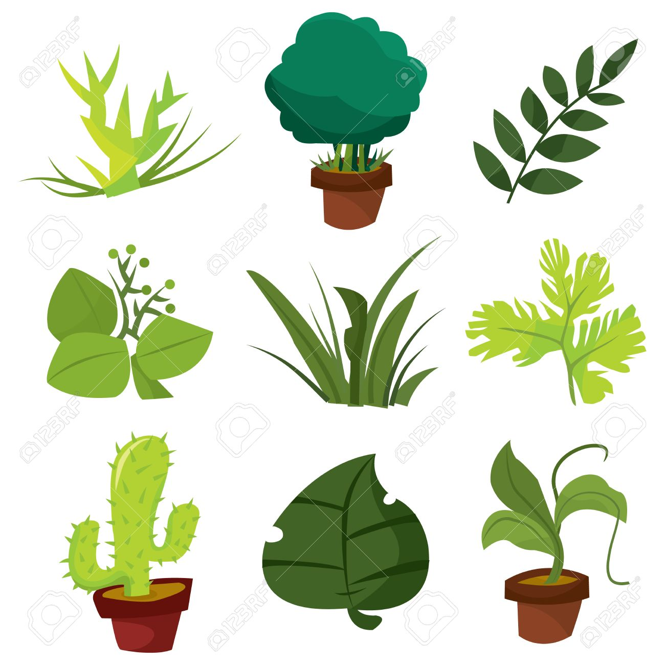 a cartoon vector illustration collection of plants and leaves rh 123rf com vector plants top view vector planes