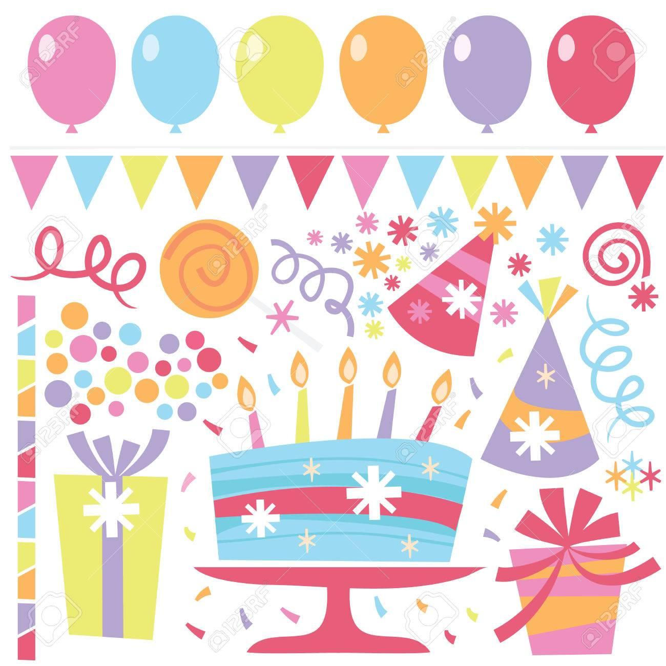 a vector illustration of retro birthday clip arts like balloons