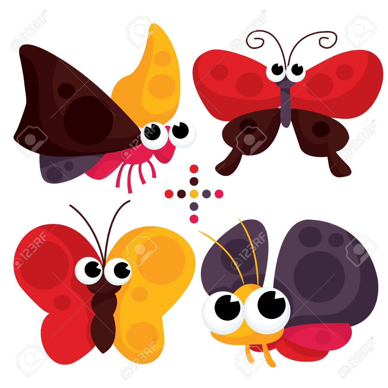 Un Conjunto De Mariposas De Dibujos Animados Lindo Del Vector De La