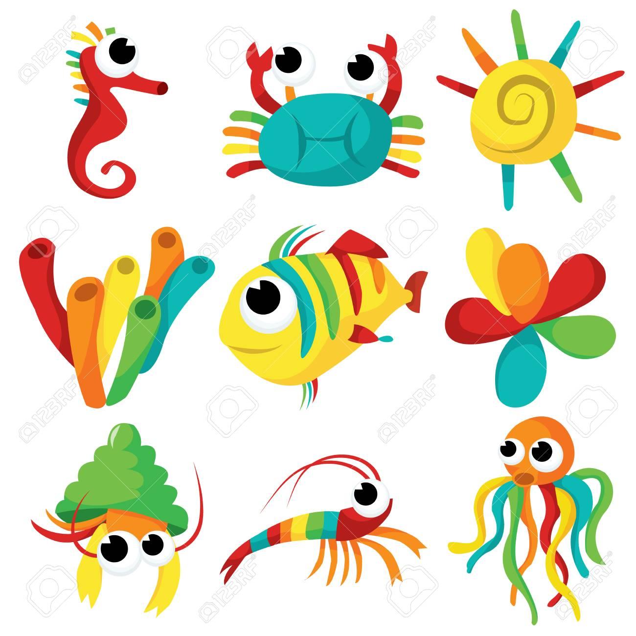 Un Conjunto De Diversión Y Feliz Criaturas Del Mar De Dibujos ...