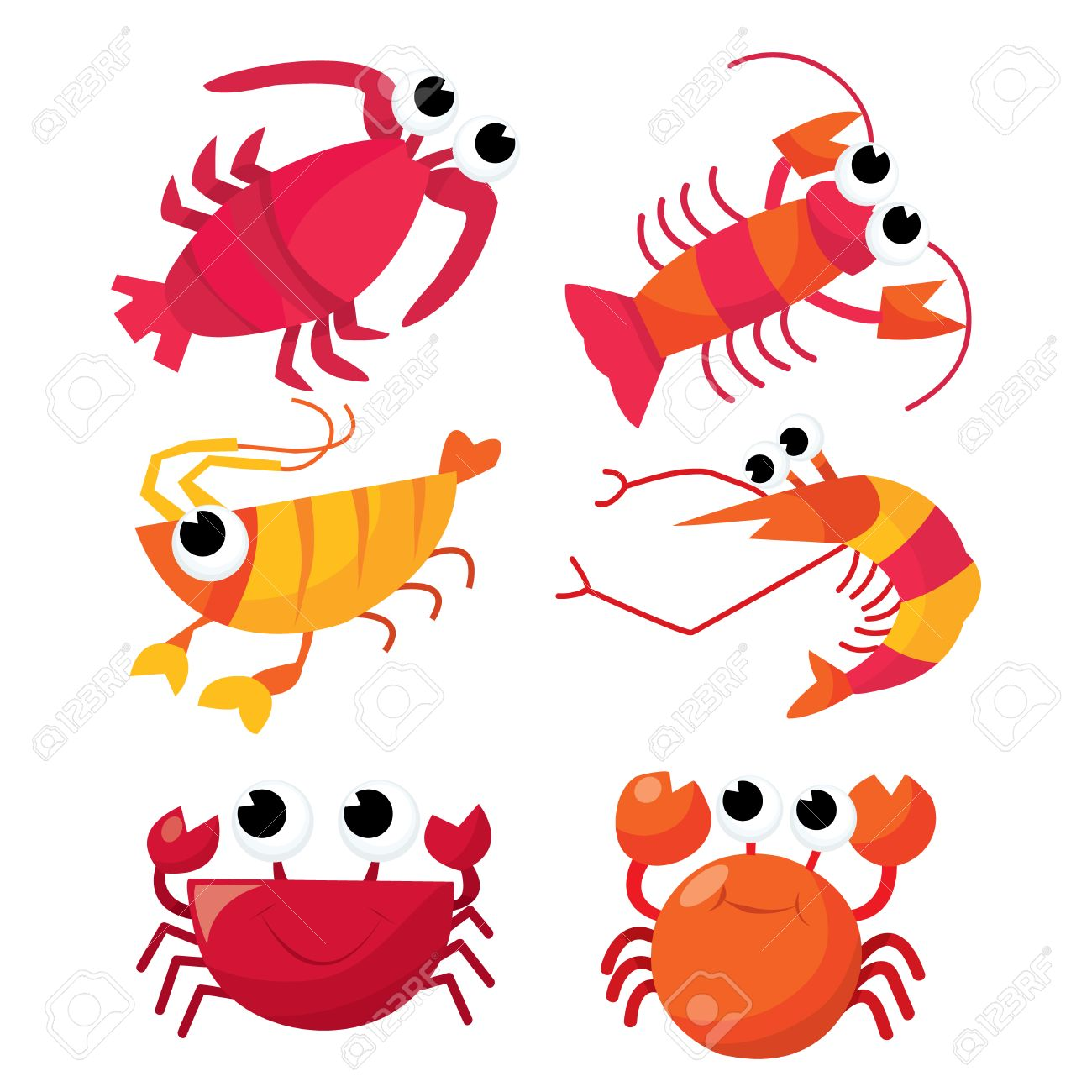 6 かわいい甲殻類の一連の漫画のベクトル イラスト エビカニ