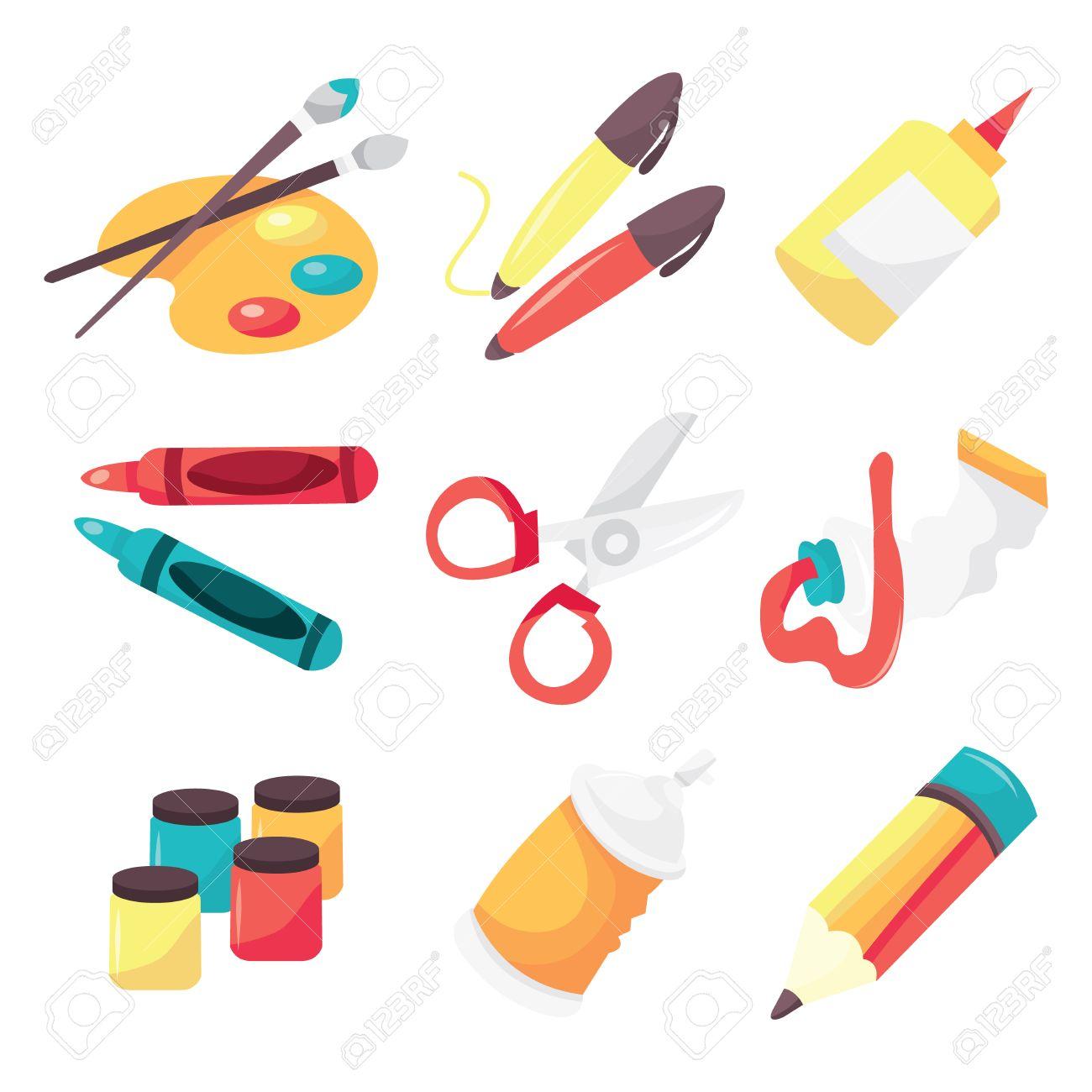 A Vector Illustration Icon Set Of Art Supplies Like Paintbrush ...