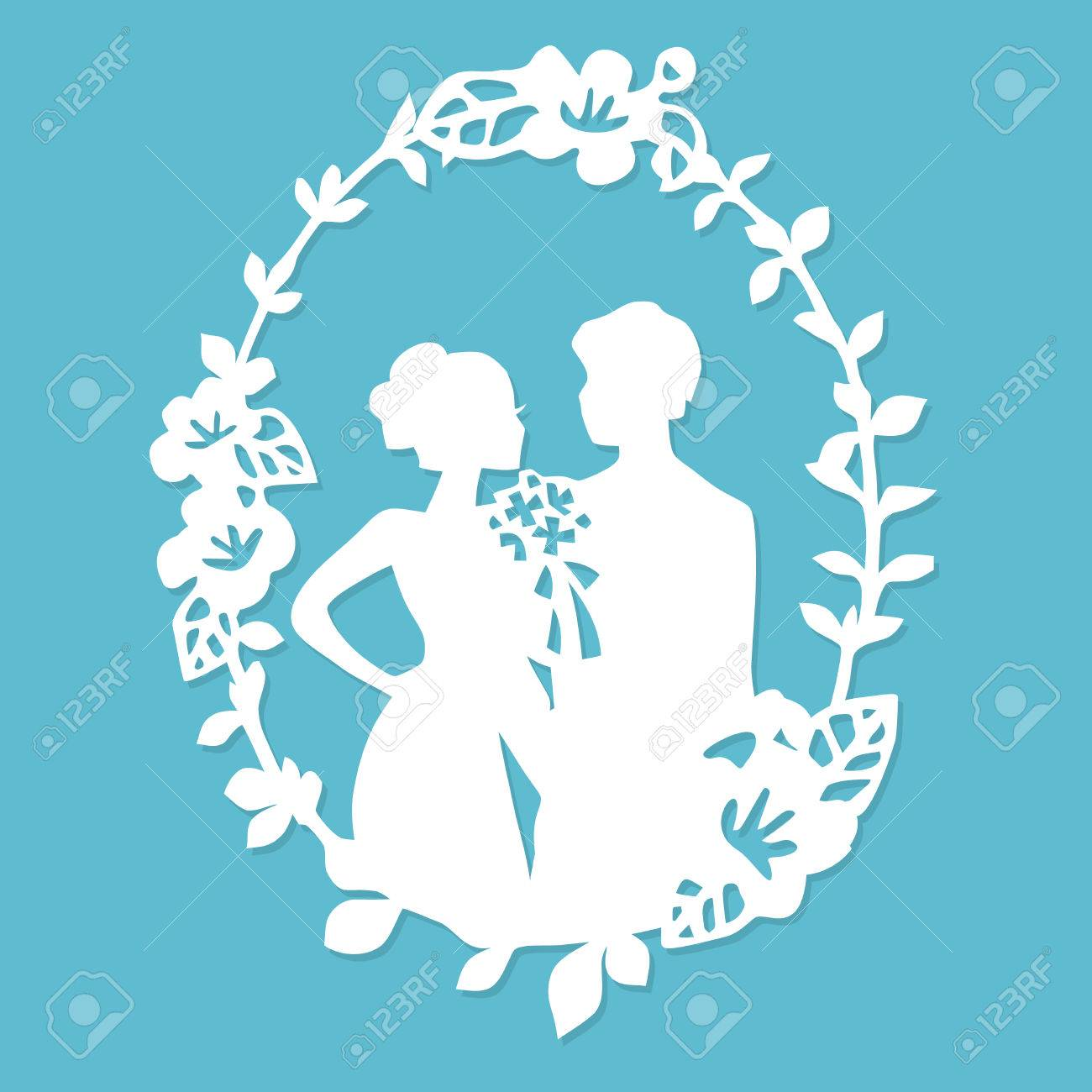 A vector illustration of vintage silhouette wedding groom bride wreath frame in paper cut style. - 75533480