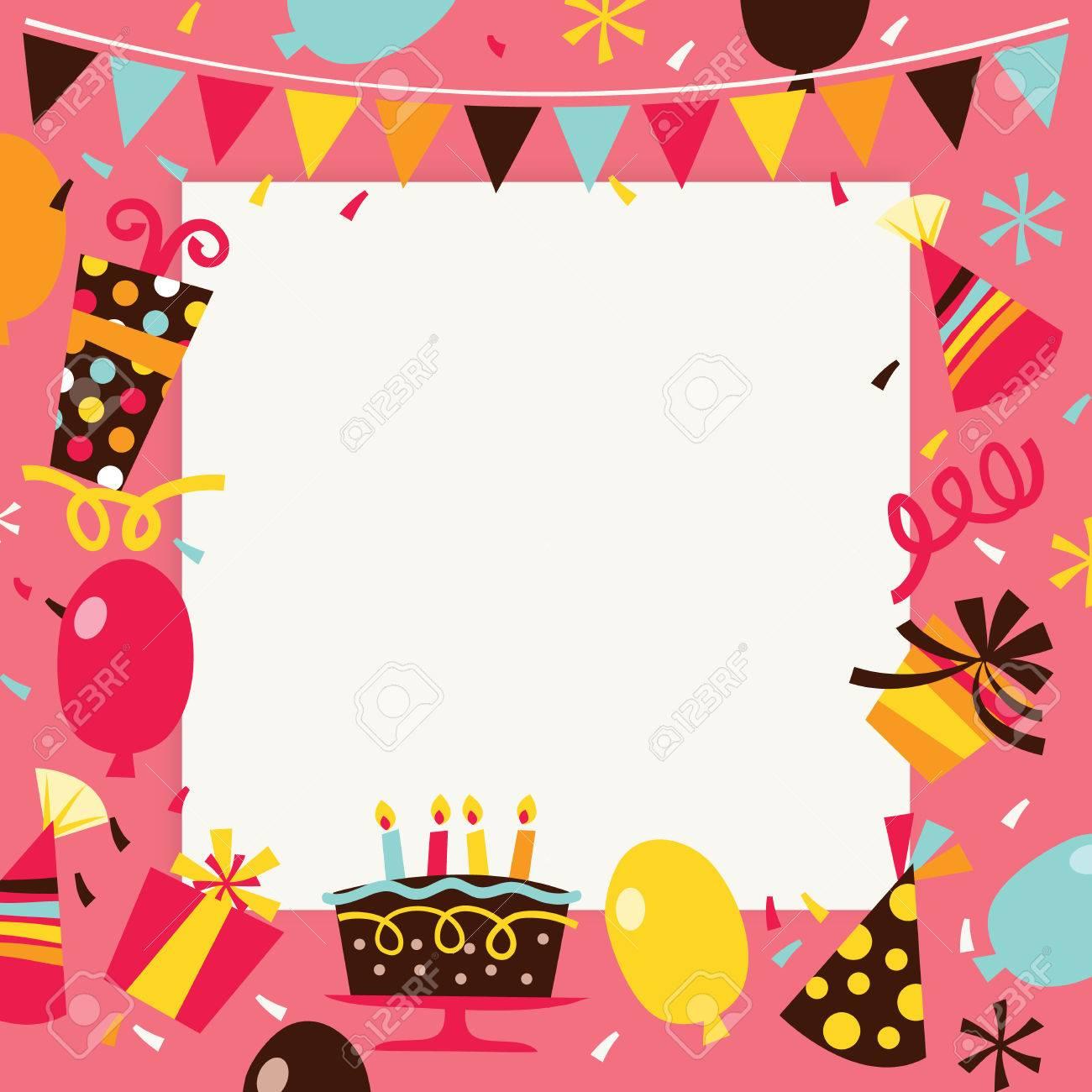 Festa A Sorpresa Di Compleanno una illustrazione vettoriale di tema retrò felice compleanno sorpresa  partito sfondo. l'immagine è piena di elementi di festa come palloncini,