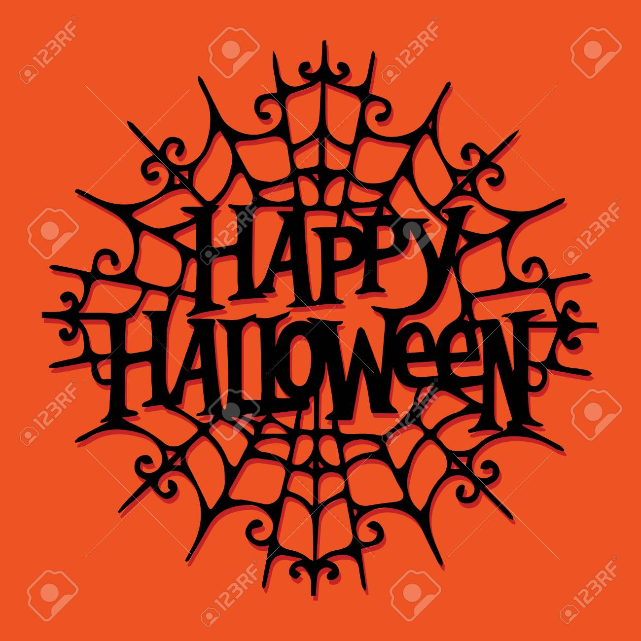 a illustration of paper cut silhouette happy halloween spider