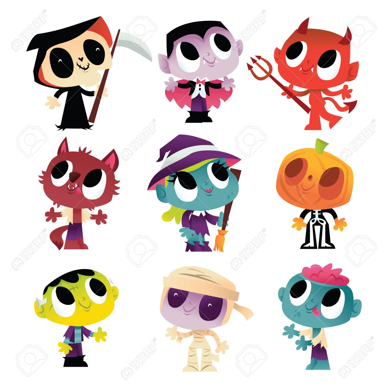 a vector illustration of nine super cute halloween monsters and ghouls like witch vampire