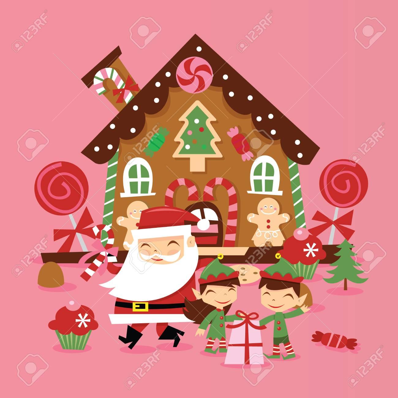 Babbo Natale E Gli Elfi.Vettoriale Una Illustrazione Vettoriale Di Super Cute Retro Babbo