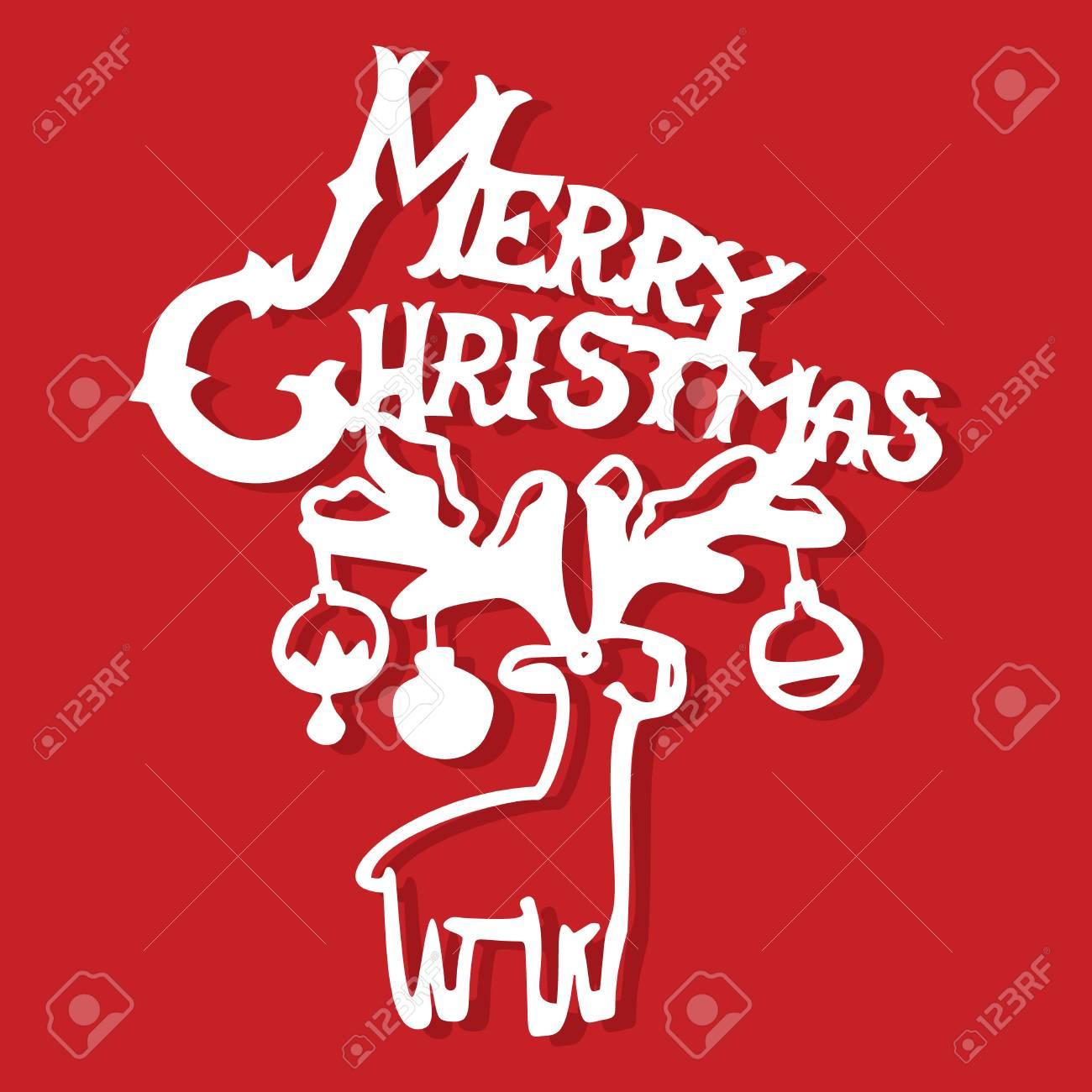 Una Ilustración Vectorial Playbill Feliz Navidad Renos Con Adornos ...
