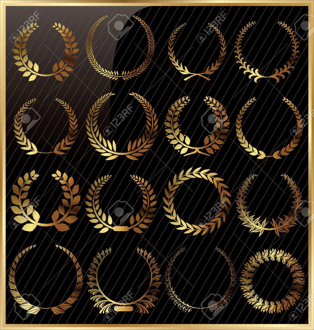 Laurel wreath golden set Stock Vector - 18768847