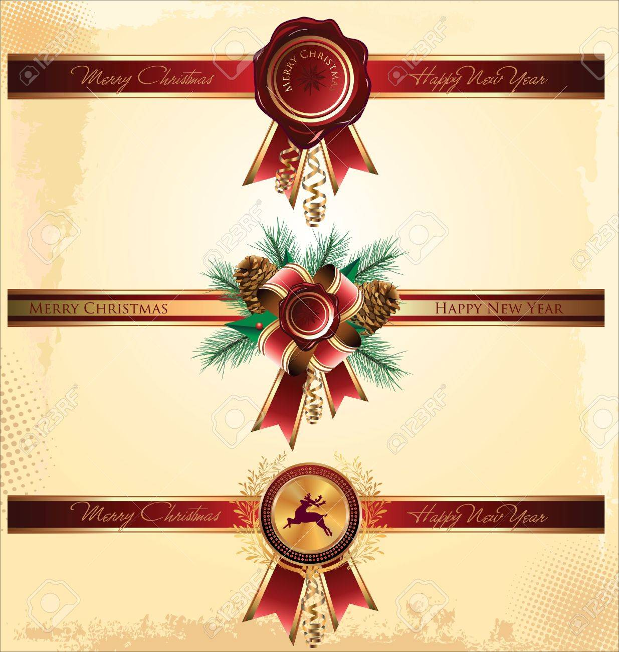 Red new year and christmas wax seal and ribbon Stock Vector - 19051359
