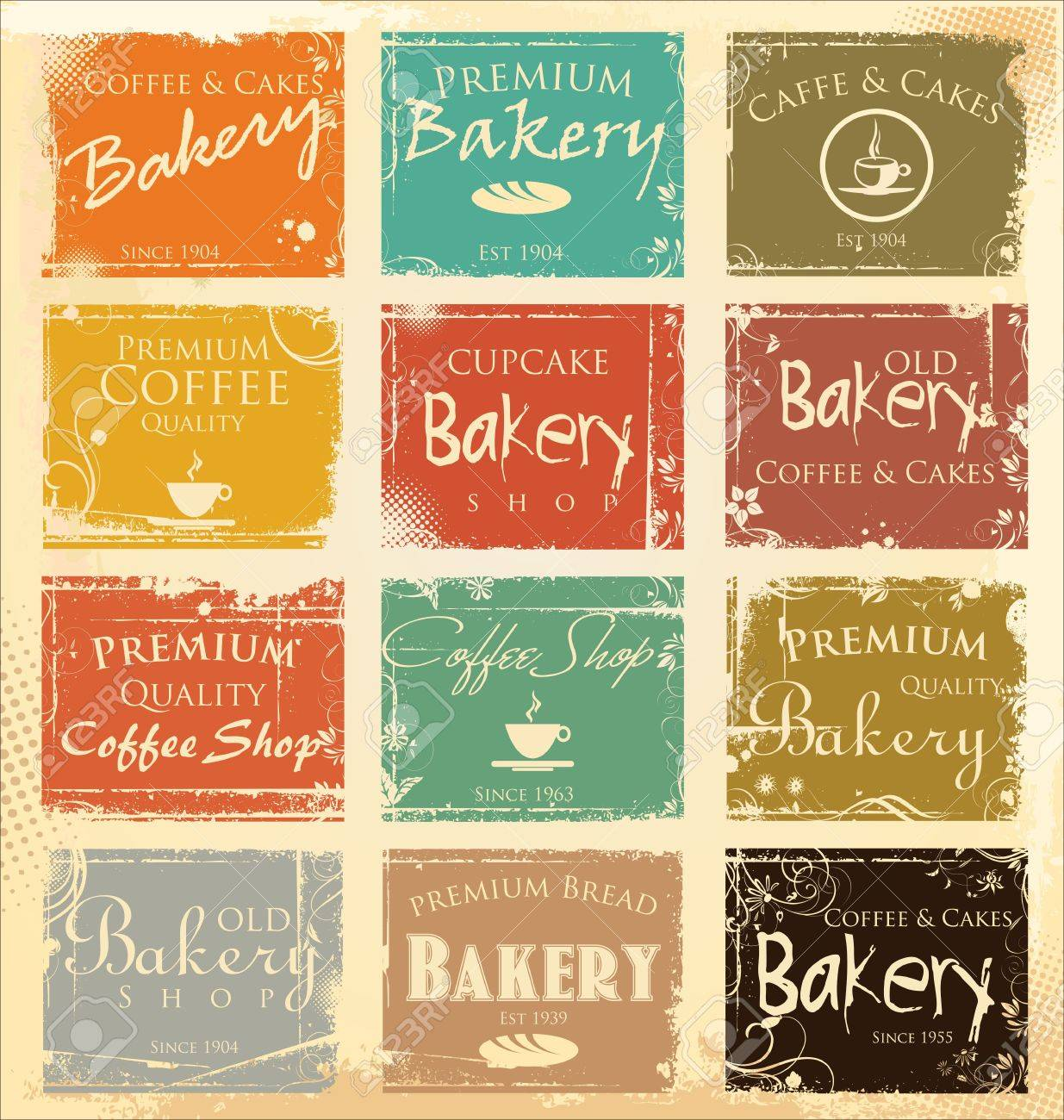 Collection Of Vintage Retro Grunge Food Labels Royalty Free ...