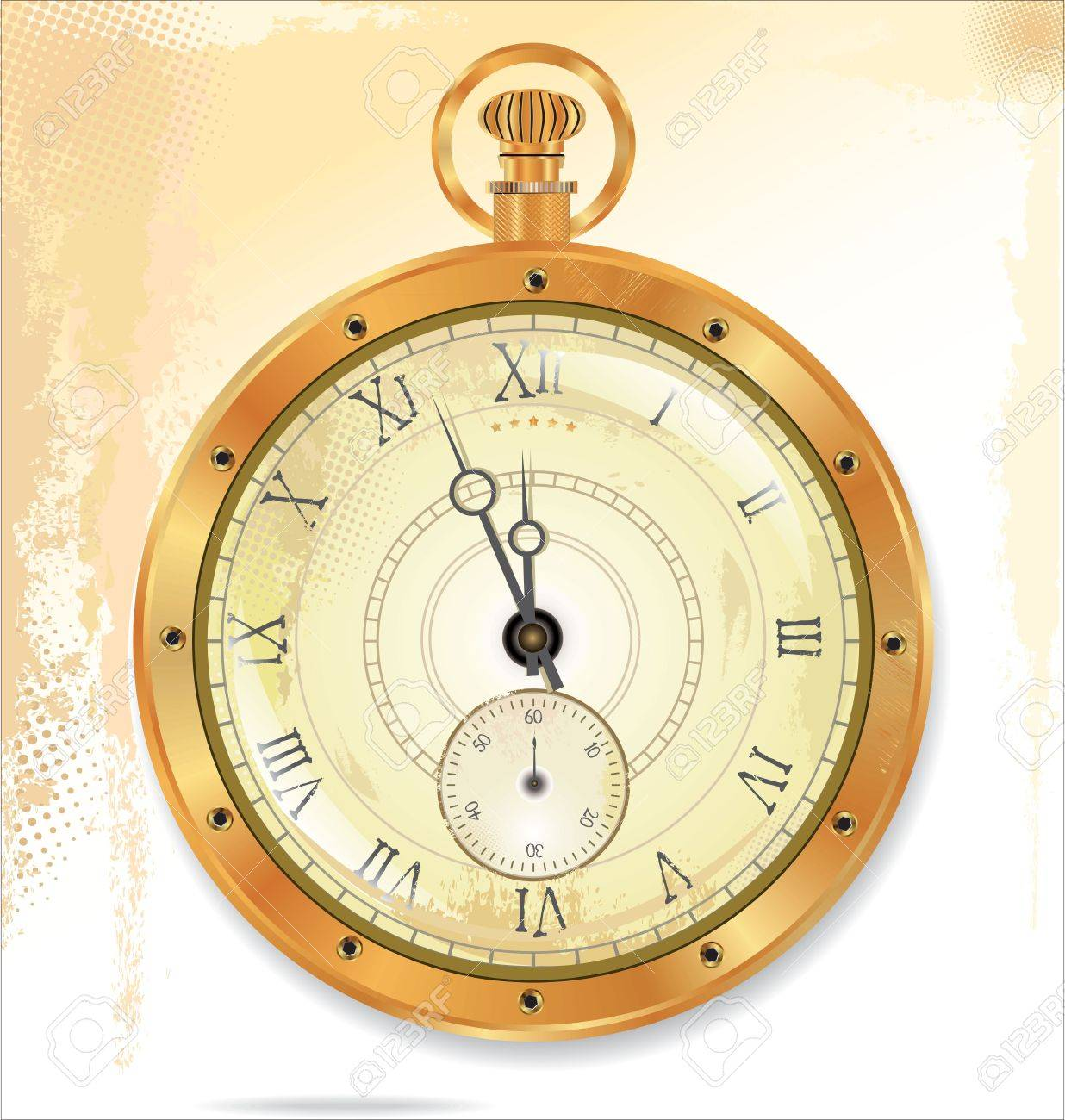 Old pocket gold watch detailed illustration  No transparency Stock Vector - 19083550