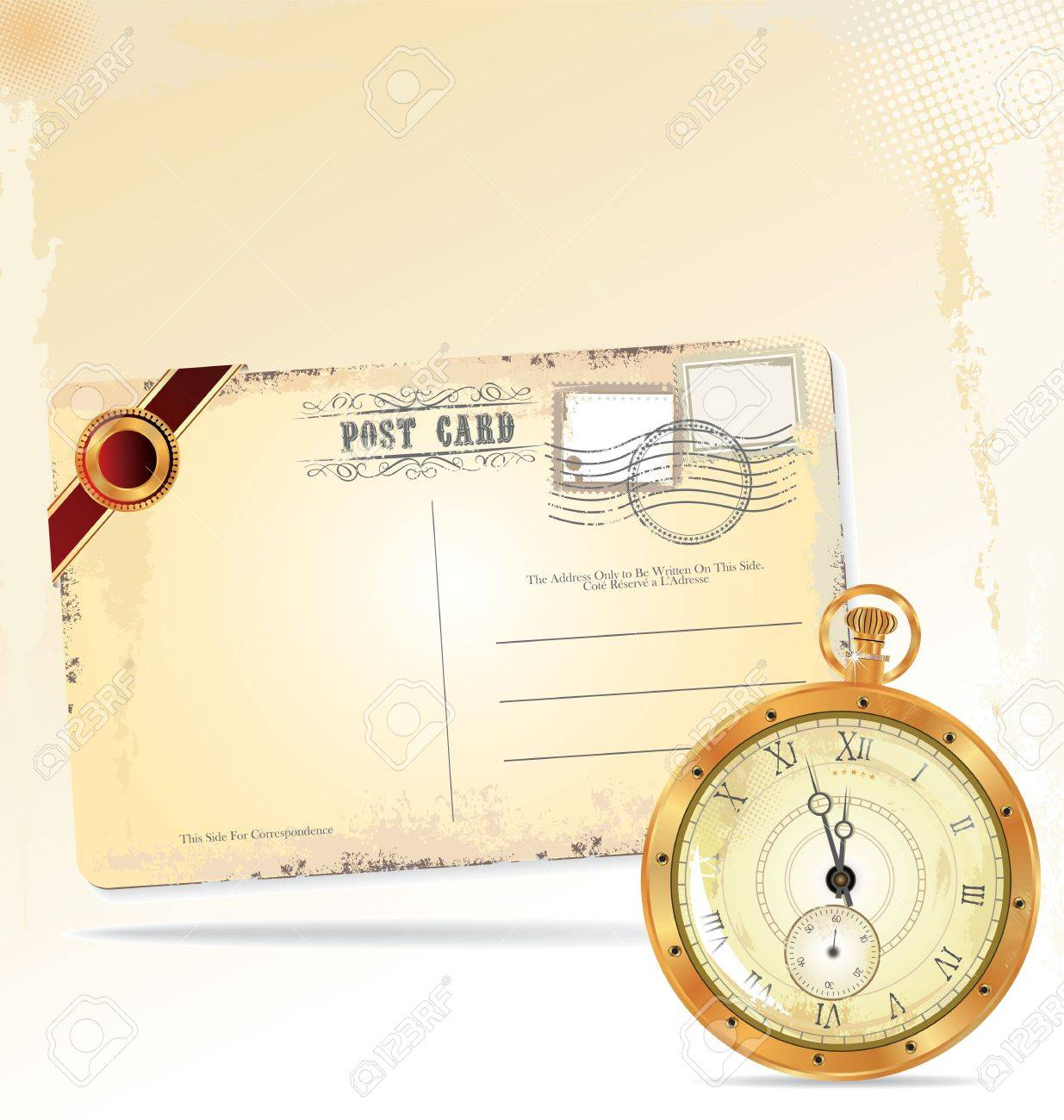 Old pocket watch and retro post card Stock Vector - 19083560
