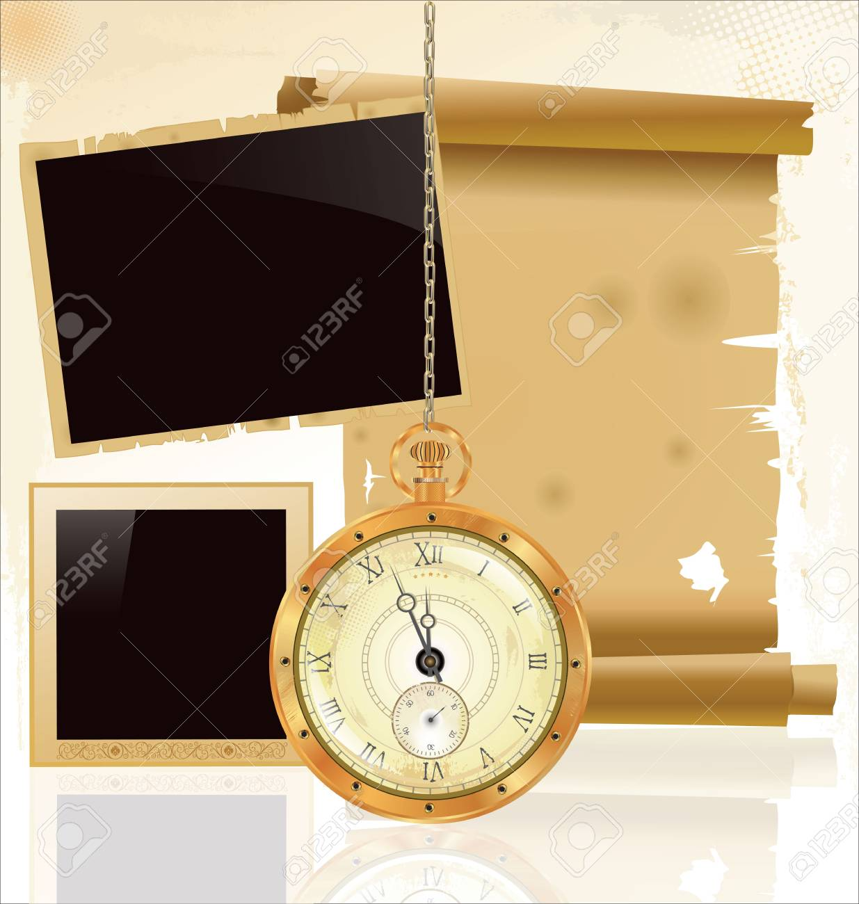 Vintage pocket watch and old paper Stock Vector - 19083532