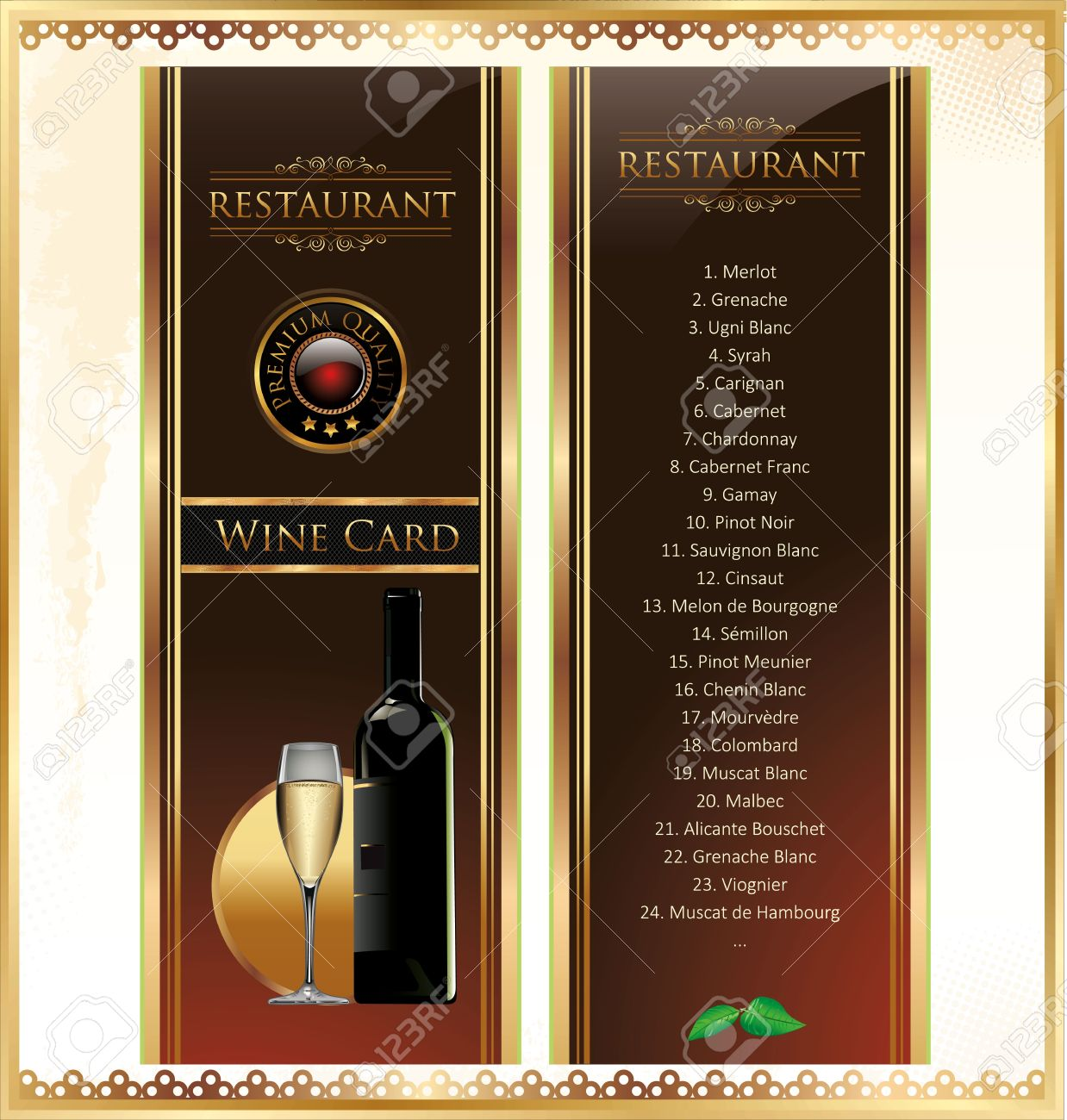 Elegant Drink Menu Card With Wine Glass And Bottle Royalty Free ...