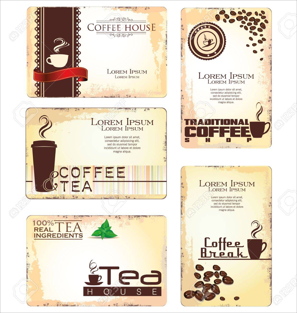 Set of 5 business cards for cafe royalty free cliparts vectors and set of 5 business cards for cafe stock vector 19160368 colourmoves