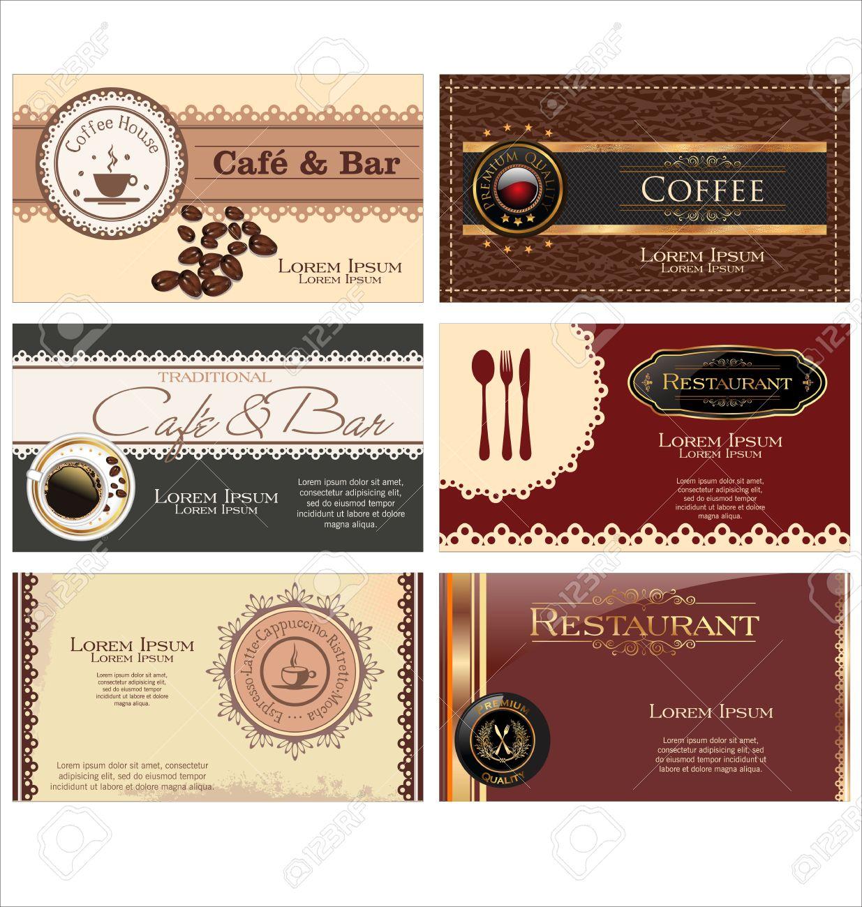 Lot De 6 Cartes Visite Pour Le Cafe Et Restaurant Clip Art Libres