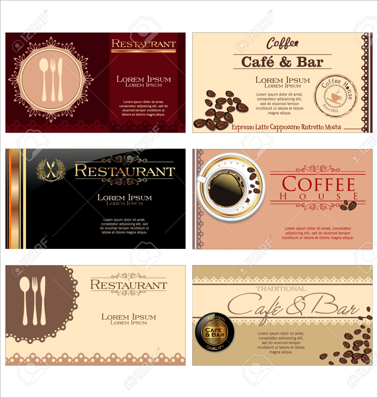 Business cards for cafe and restaurant royalty free cliparts business cards for cafe and restaurant stock vector 19156233 reheart Image collections